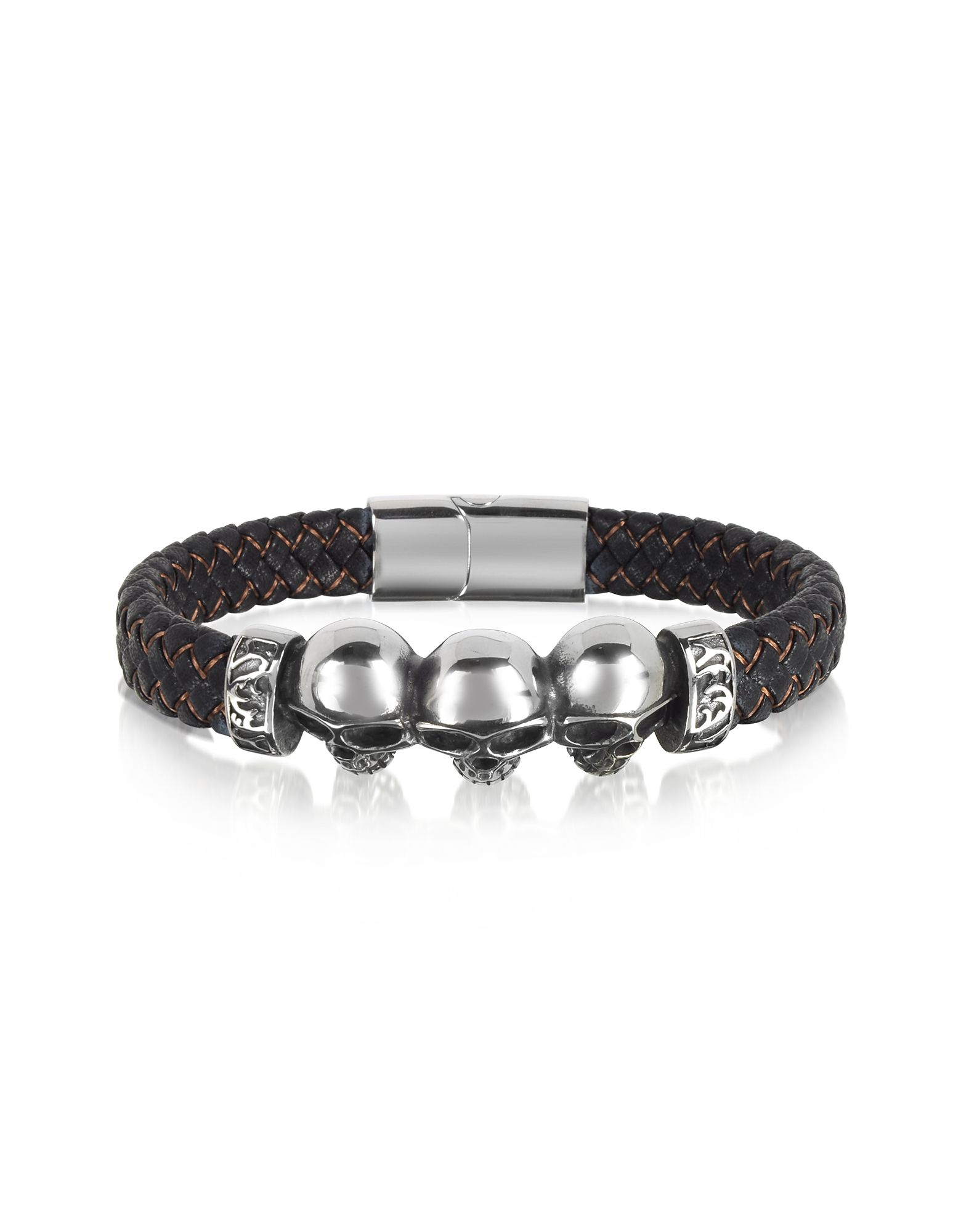 Blackbourne Men's Bracelets, Stainless Steel and Leather Skulls Men's Bracelet
