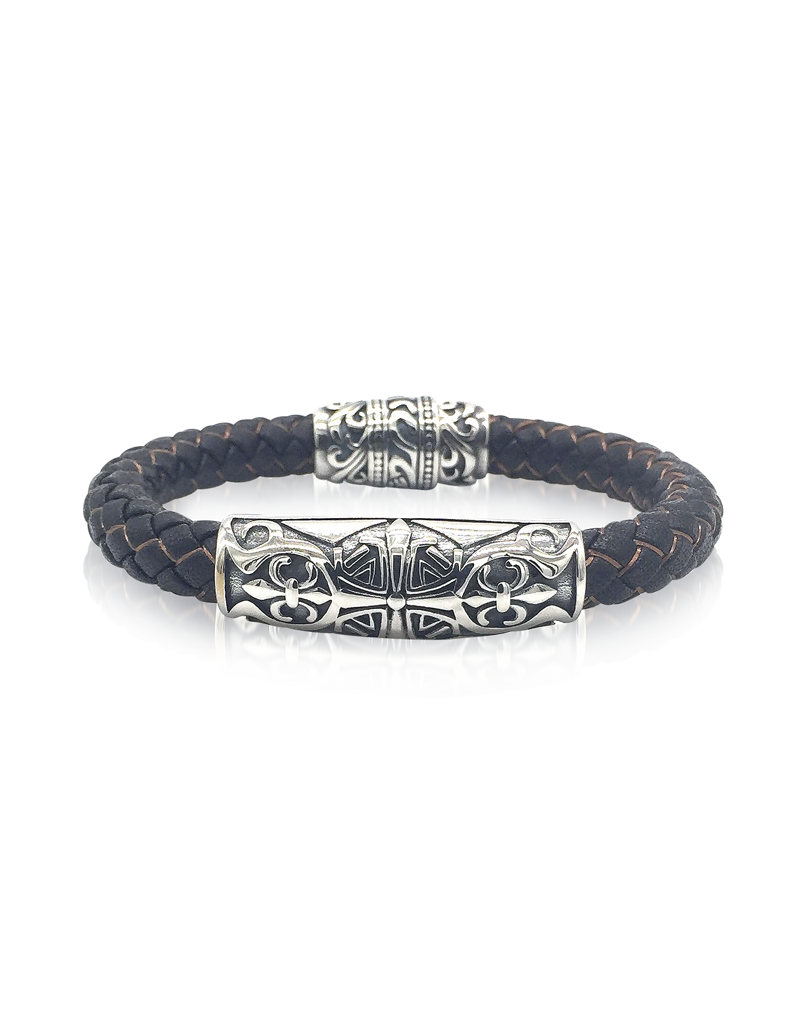 Image of Blackbourne Designer Men's Bracelets, Engraved Stainless Steel and Braided Leather Men's Bracelet