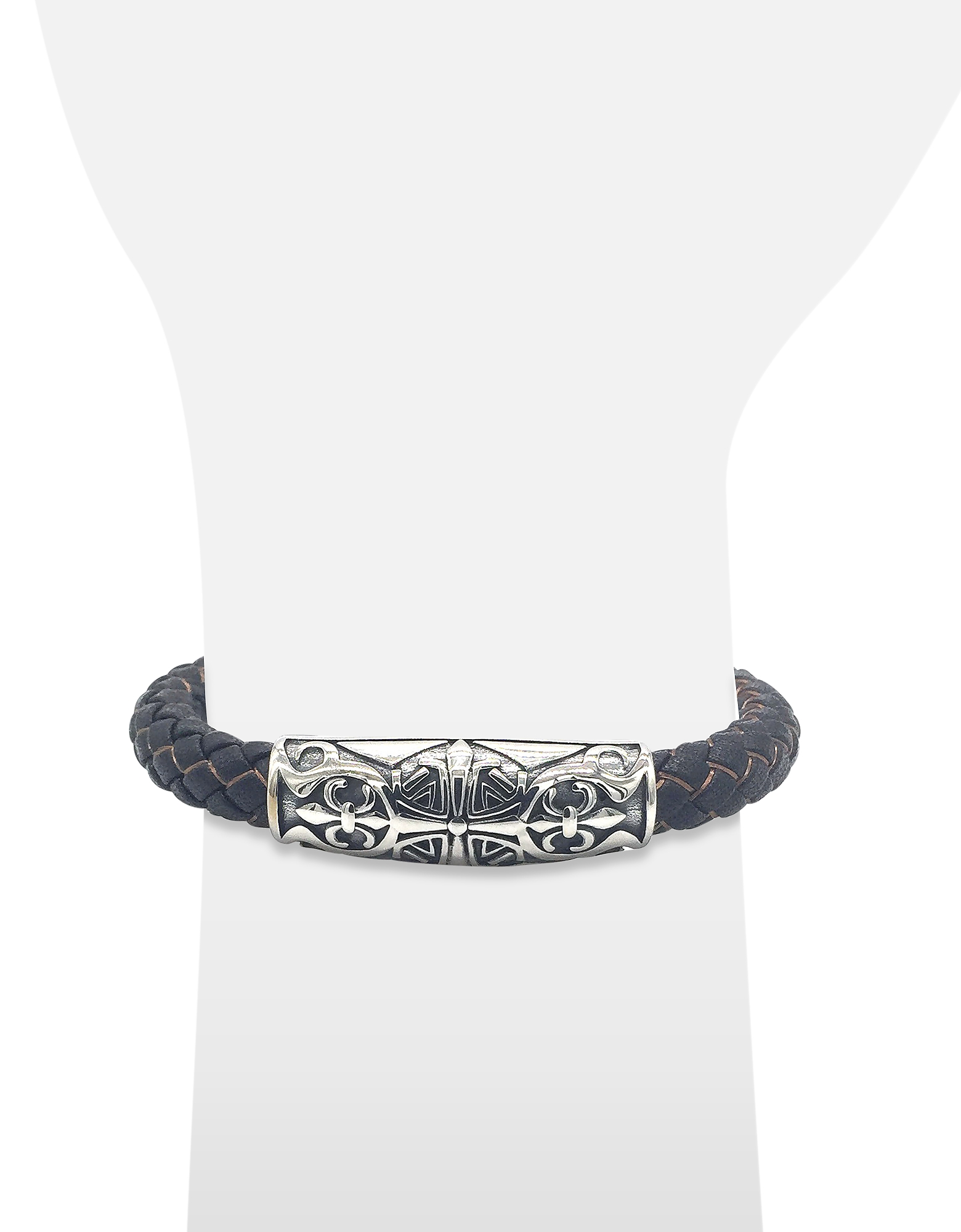 Engraved Stainless Steel and Braided Leather Men's Bracelet от Forzieri.com INT