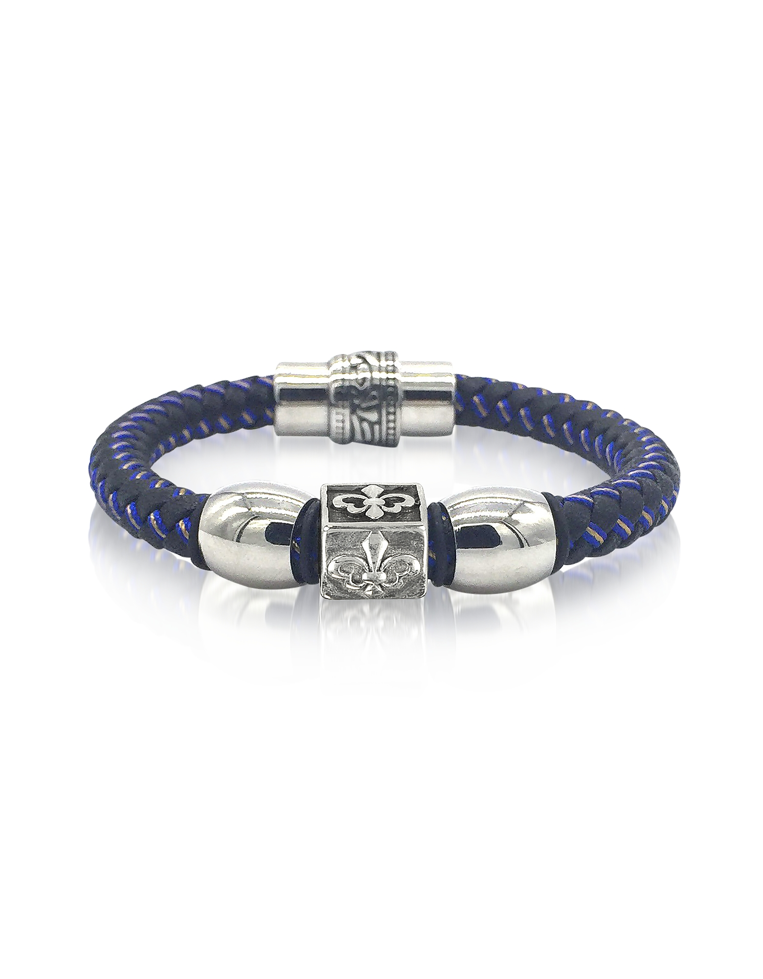 Image of Blackbourne Designer Men's Bracelets, Lily Engraved Stainless Steel and Braided Leather Men's Bracelet
