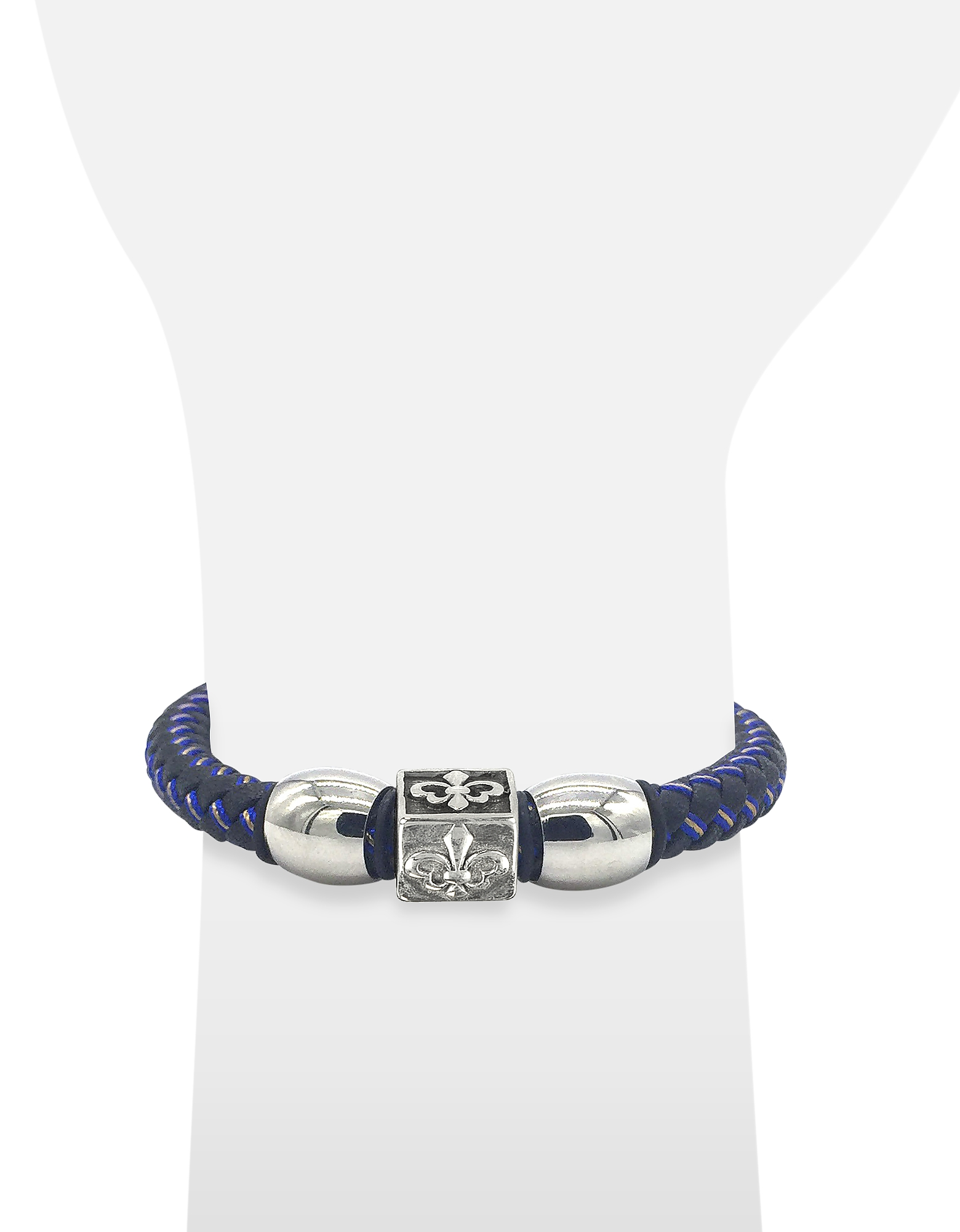 Lily Engraved Stainless Steel and Braided Leather Men's Bracelet от Forzieri.com INT