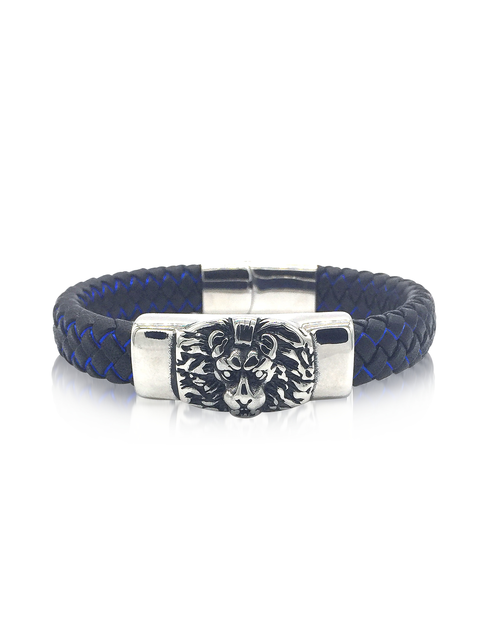 Image of Blackbourne Designer Men's Bracelets, Lion Engraved Stainless Steel and Braided Leather Men's Bracelet