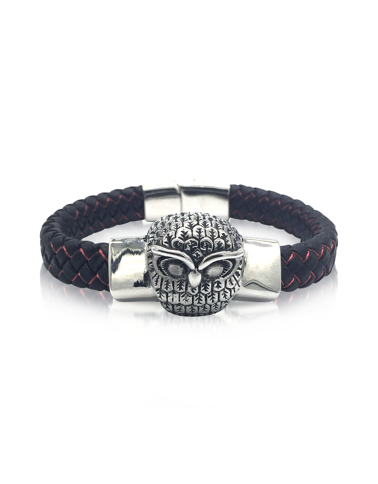 Blackbourne Designer Bracelets, Owl Engraved Stainless Steel and Braided Leather Men's Bracelet