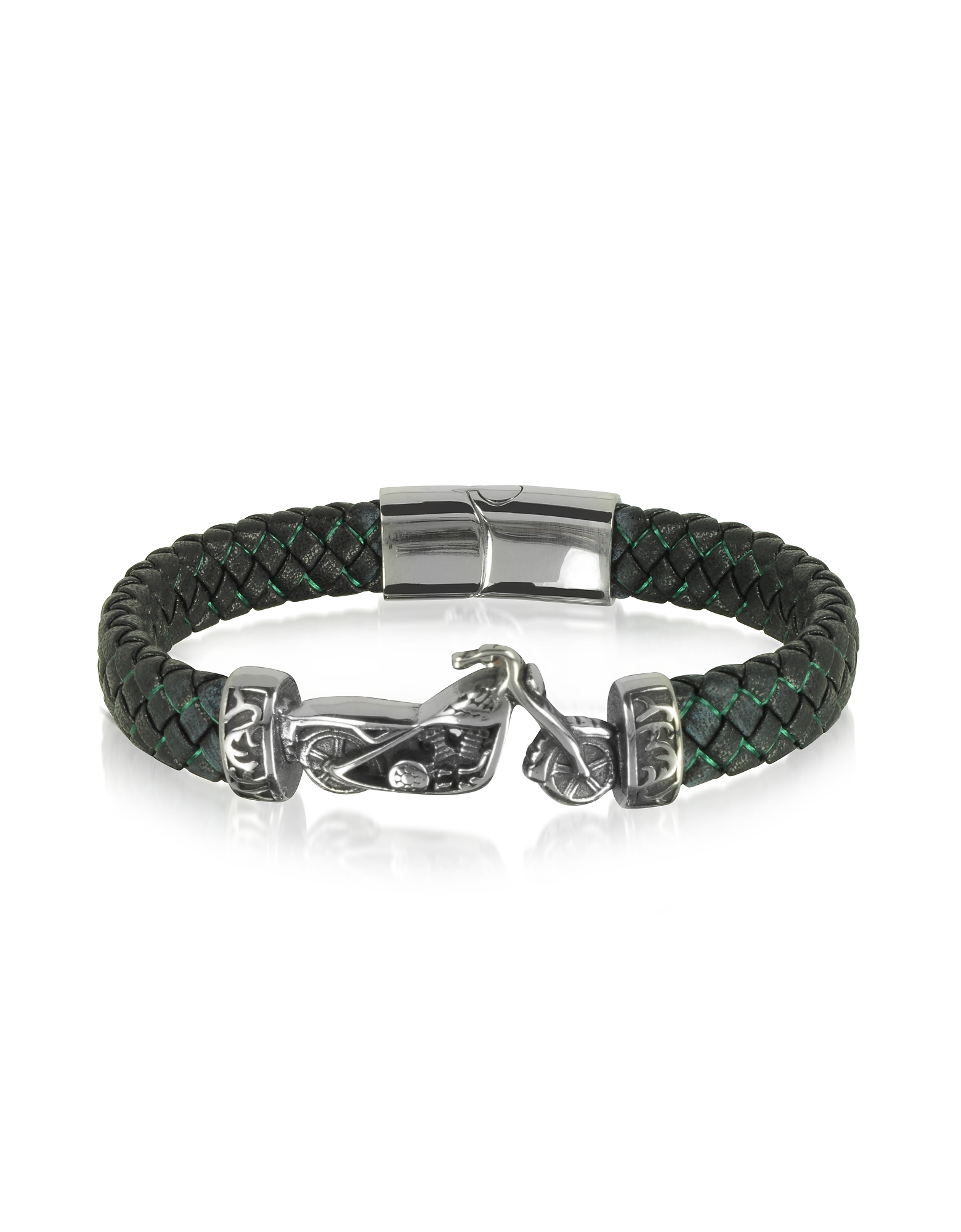 Blackbourne Men's Bracelets, Stainless Steel and Leather Motorbike Men's Bracelet