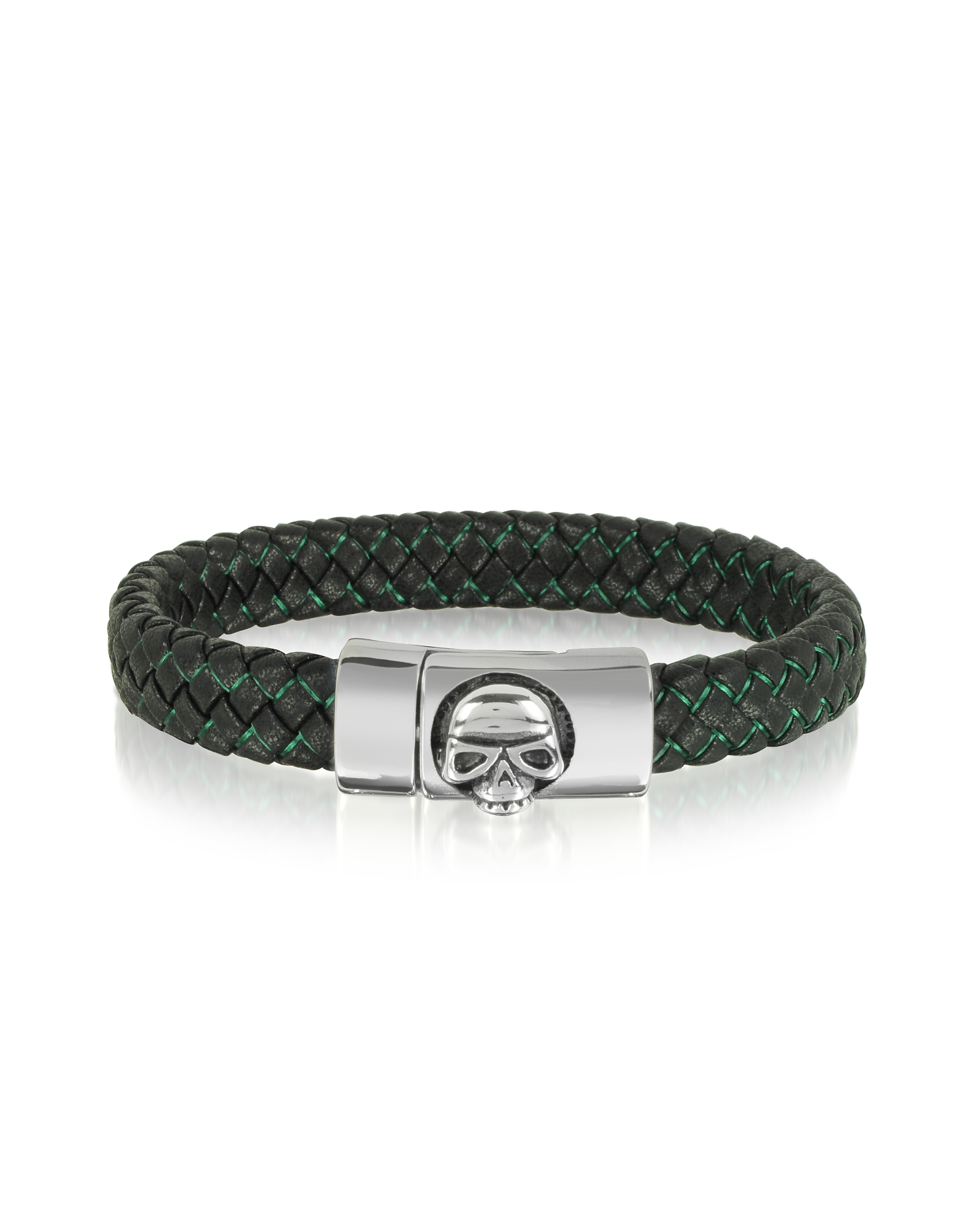 Blackbourne Designer Men's Bracelets, Black Woven Leather Men's bracelet w/Stainless Steel Skull