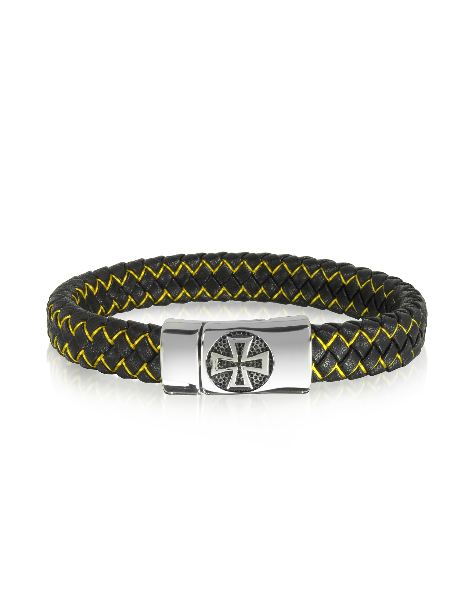Image of Blackbourne Designer Men's Bracelets, Black Woven Leather and Stainless Steel Celtic Cross Men's Bracelet