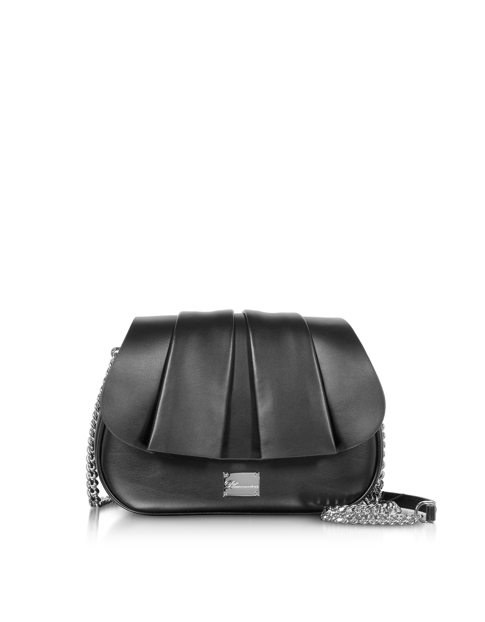 Blumarine Designer Handbags, Karen Black Leather Shoulder Bag