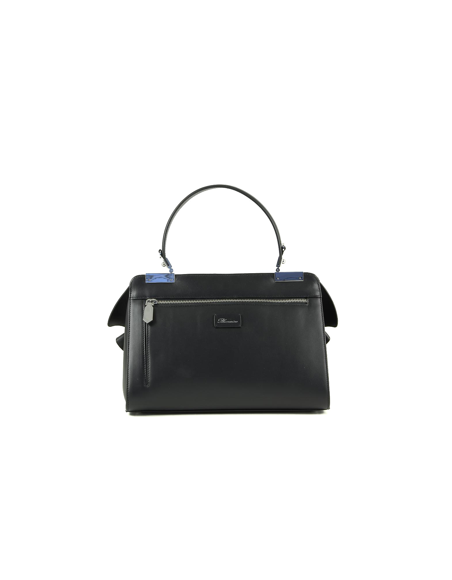 Blumarine Designer Handbags, Vivienne Black Leather Top Handle Bag