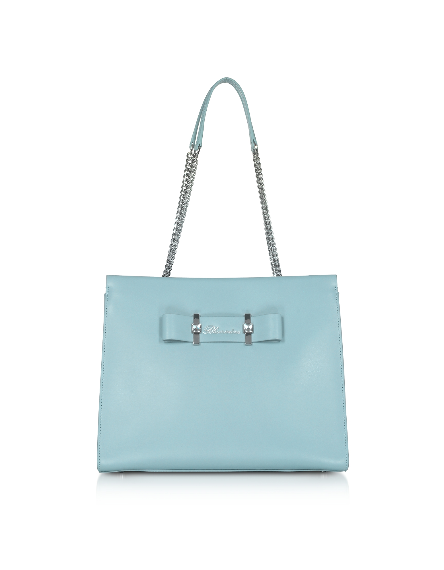 Blumarine Designer Handbags, Charlotte Avio Blue Leather Top Handle Bag