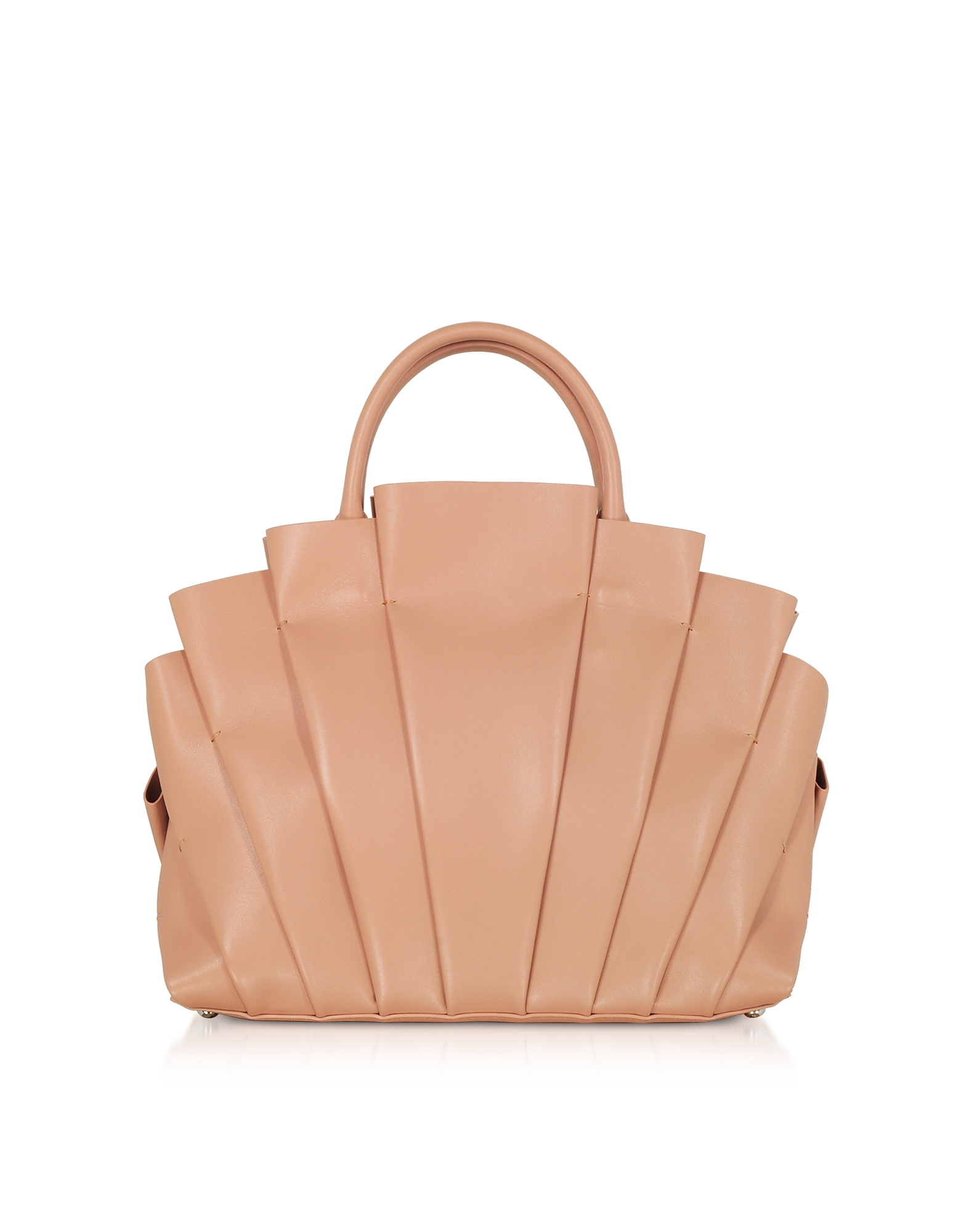 Blumarine Designer Handbags, Dahlia Nude Leather Top Handle Bag