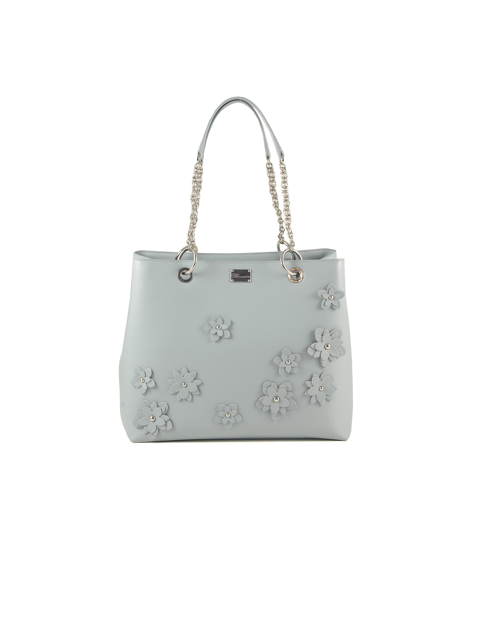 Blumarine Designer Handbags, Light Blue Flower Tote Bag w/Chains