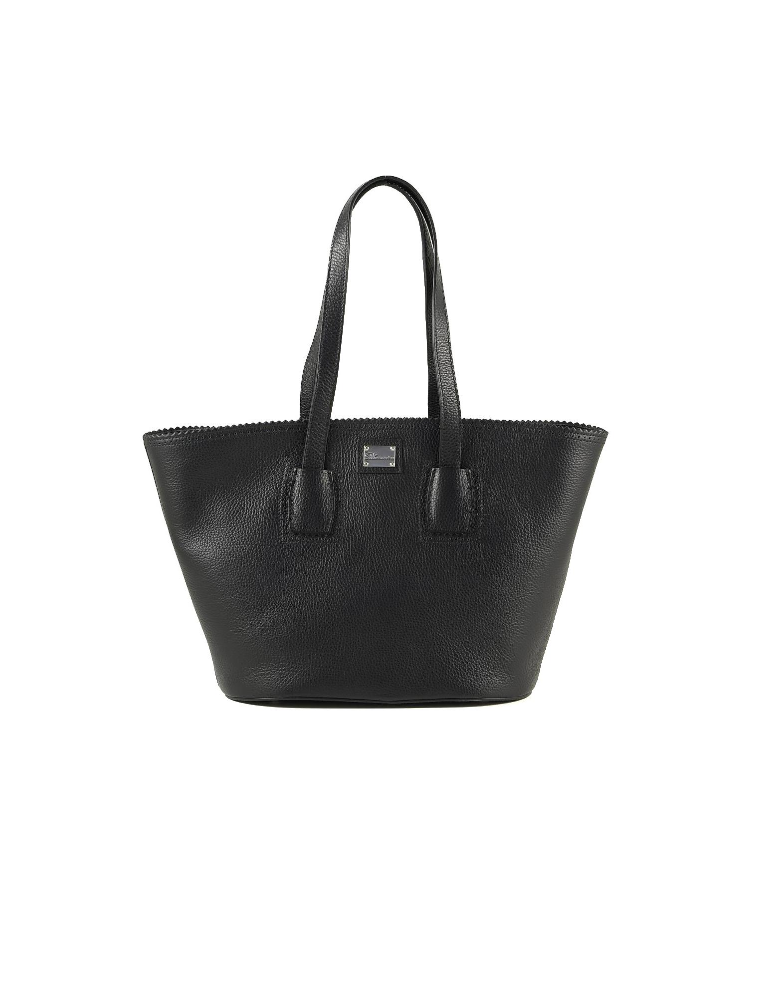 Blumarine Designer Handbags, Black Tote Bag w/Logo