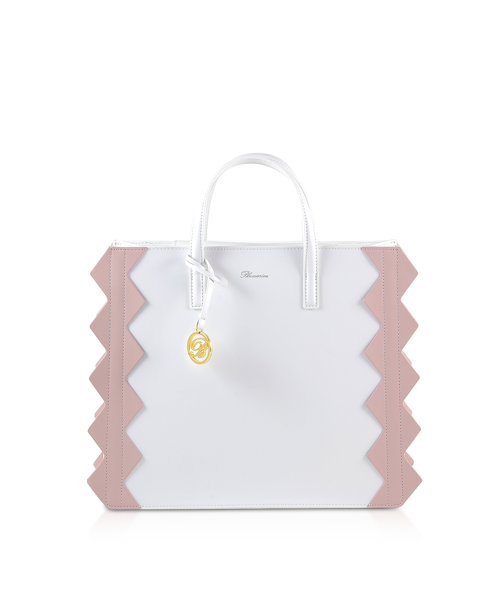 Blumarine Designer Handbags, Color Block Zig-Zag Tote Bag