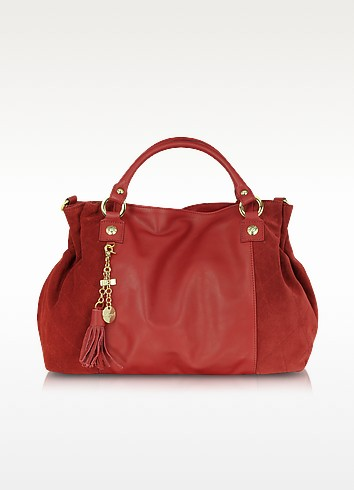 Red Canvas and Leather Tote - Blugirl