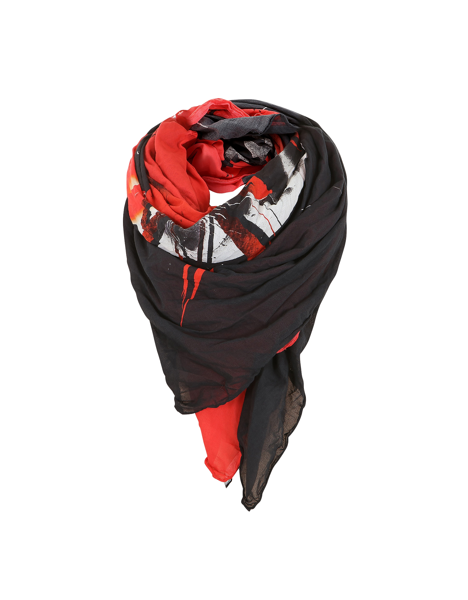 Black and Red Cotton Printed Oversized Scarf