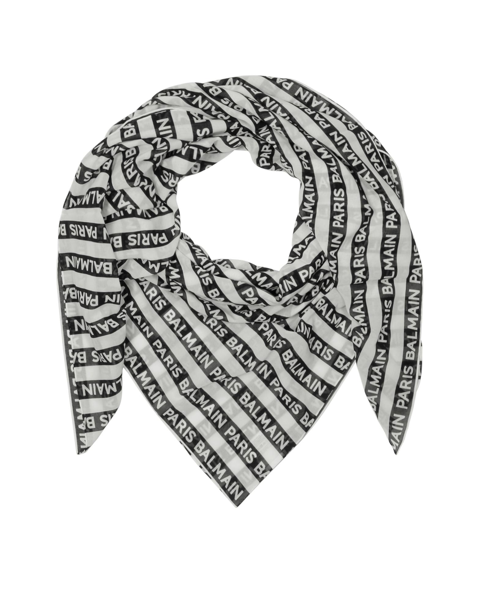 Черно-Белый Шарф из Хлопка с Принтом Логотипов Balmain