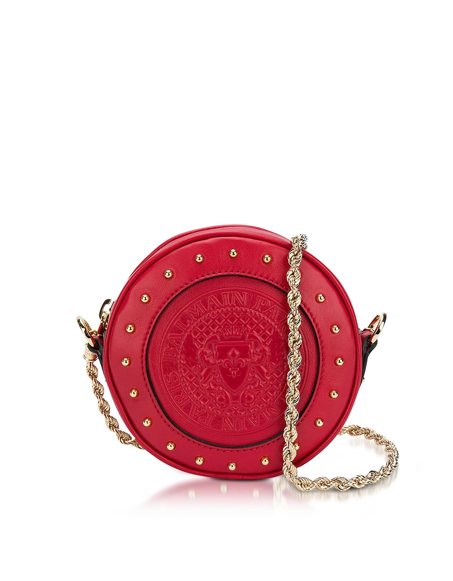Balmain Handbags, Renaissance Red Smooth Leather Mini Disco Bag w/Embossed Blazon