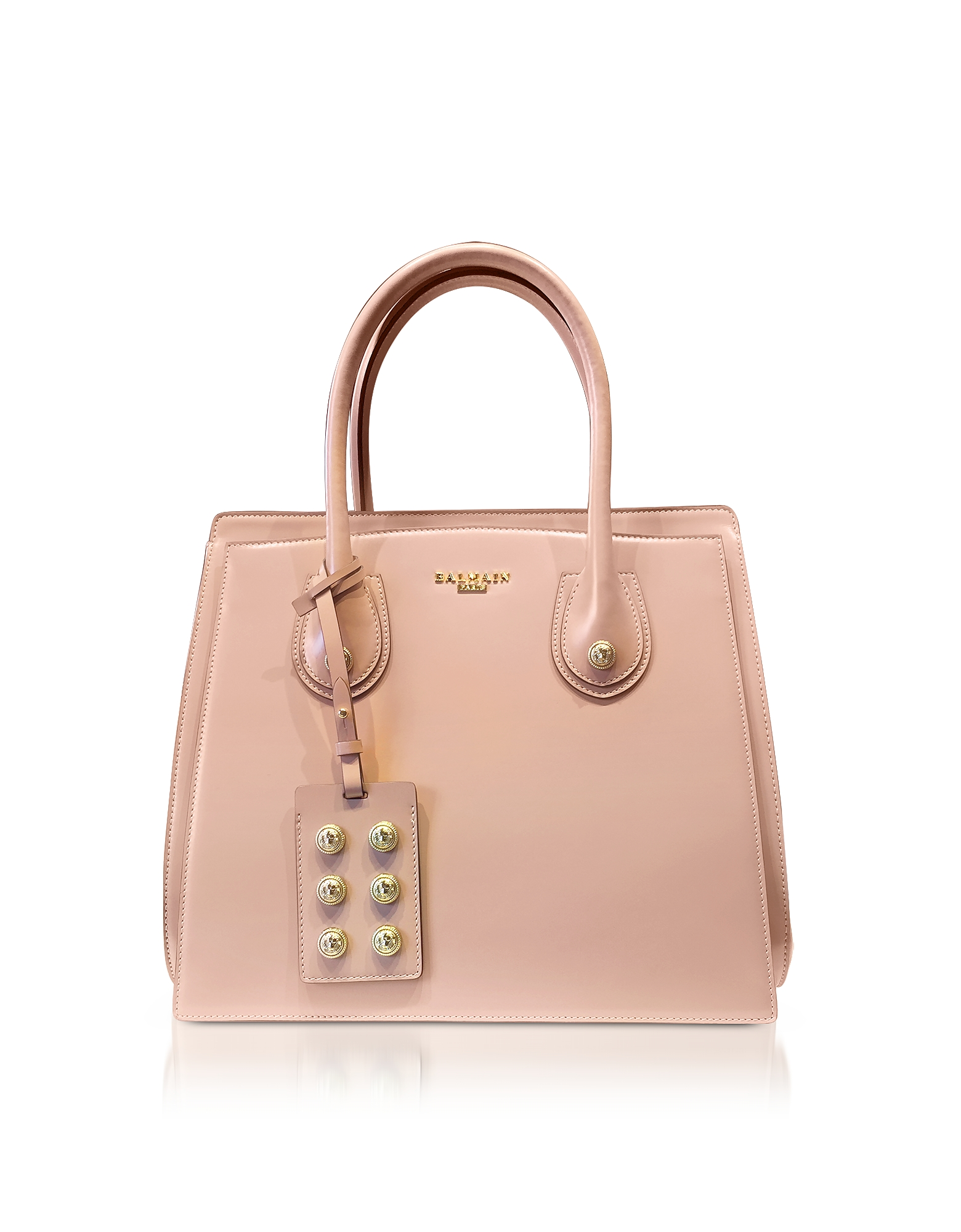 Image of 3D Borsa a Mano in Pelle Glossy Rosa Cipria