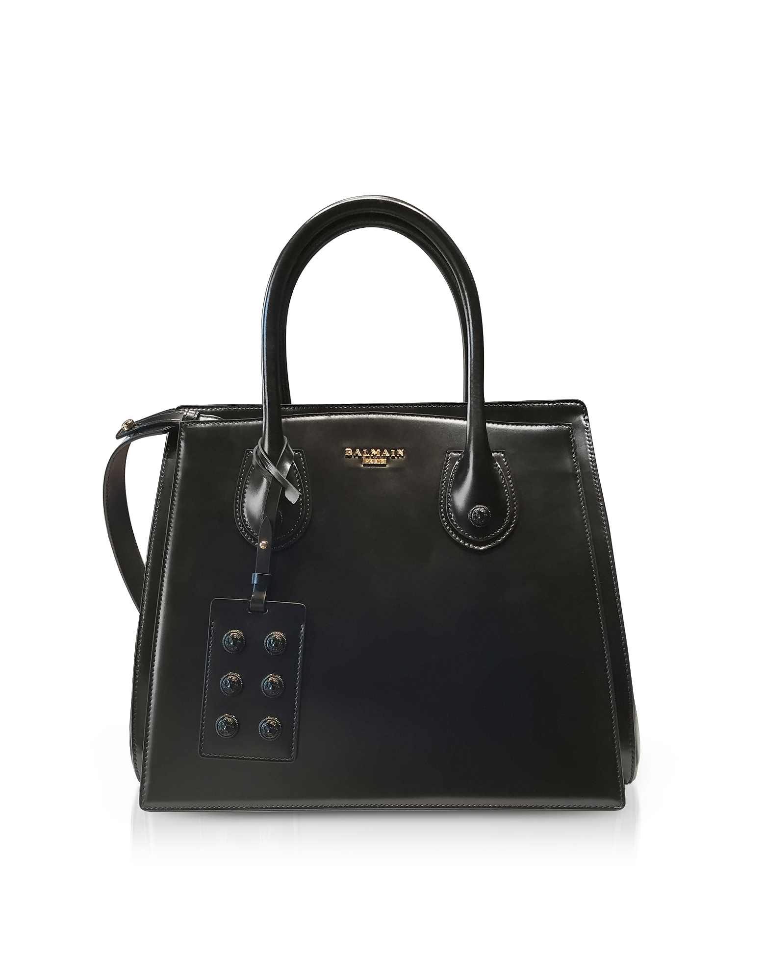 Image of 3D Borsa a Mano in Pelle Glossy Nera
