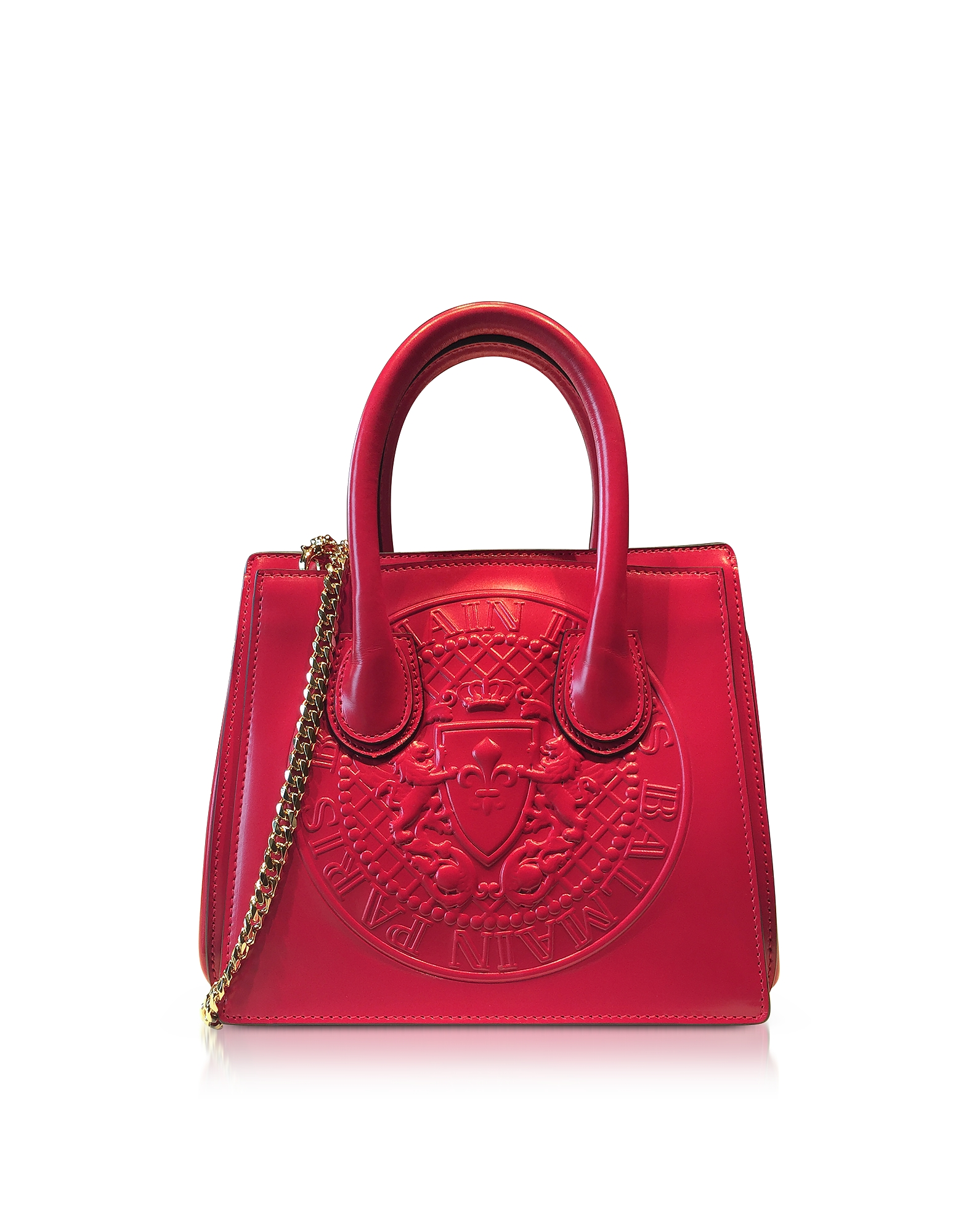 Balmain Handbags, 3D Red Glossy Leather Mini Top Handle Bag w/Embossed Blazon