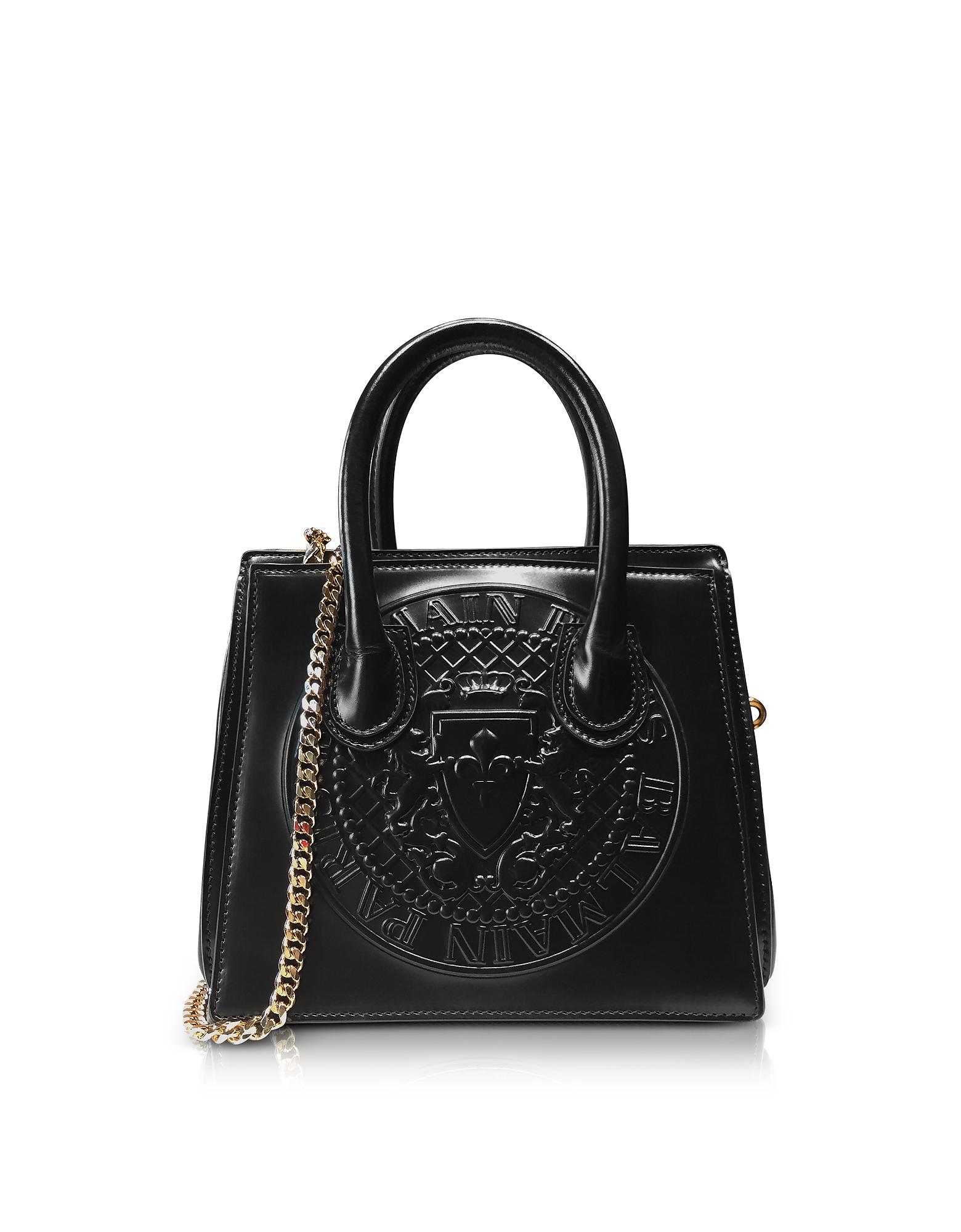 Balmain Handbags, 3D Black Glossy Leather Mini Top Handle Bag w/Embossed Blazon
