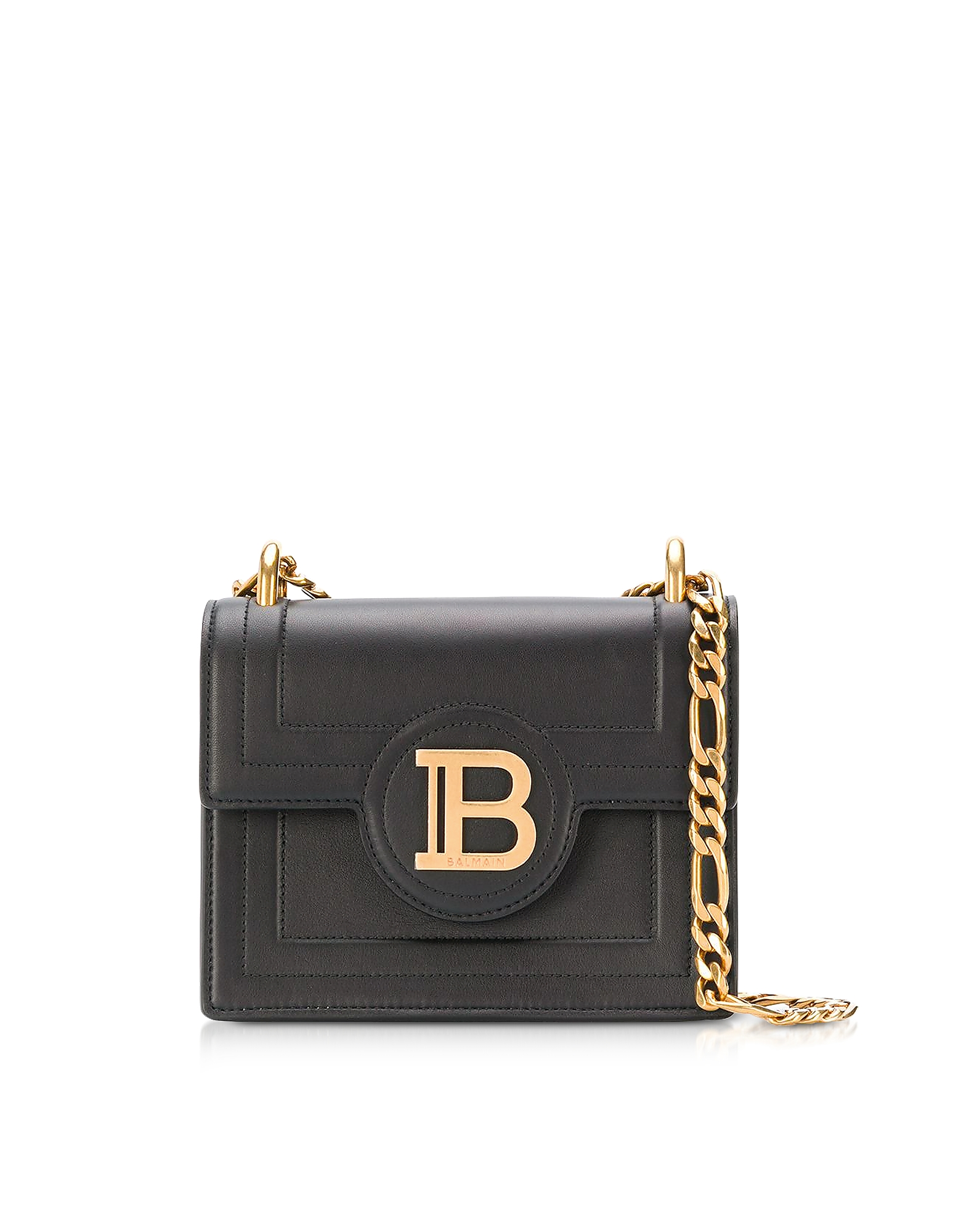 Balmain Designer Handbags, Black Leather 18 B-Bag