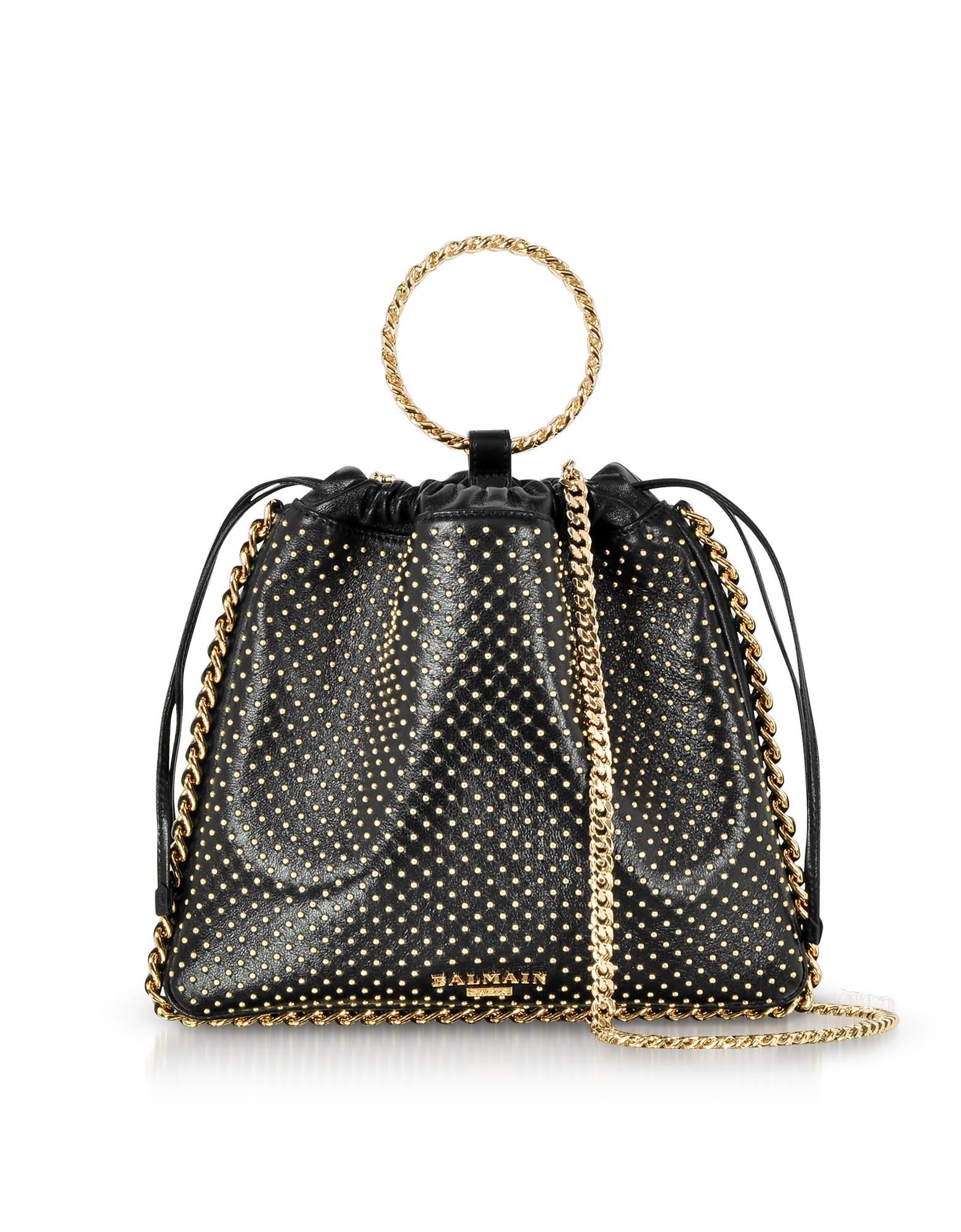 Balmain Handbags, Black Studded Leather B-Link Bracelet Backpack