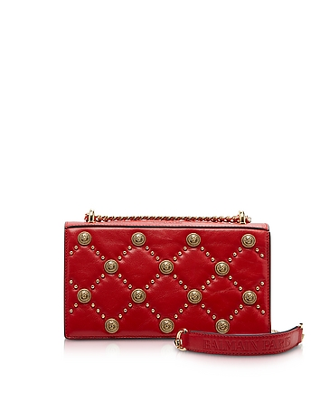 Balmain Red Love Lion Flap Shoulder Bag
