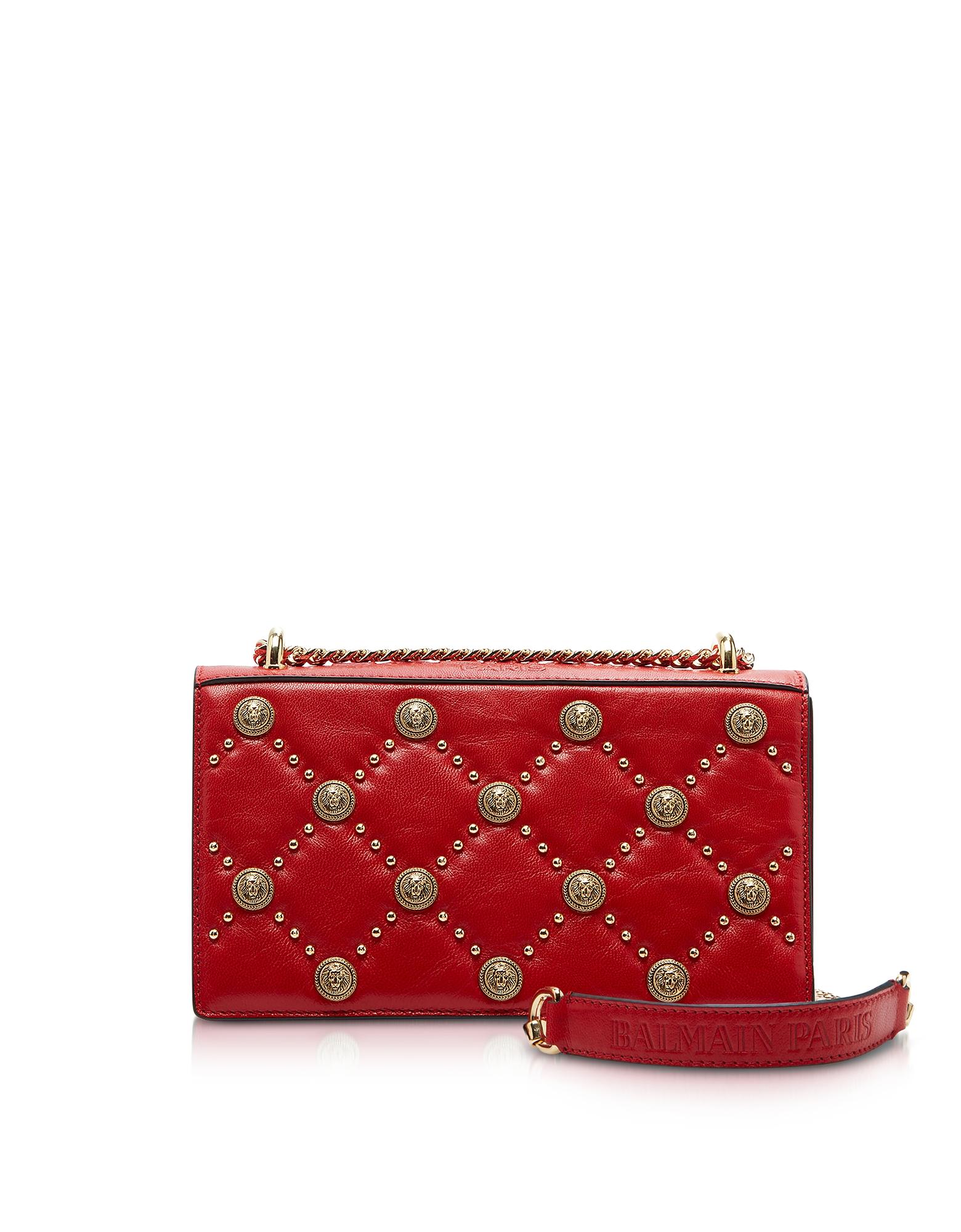 Balmain Handbags, Red Love Lion Flap Shoulder Bag