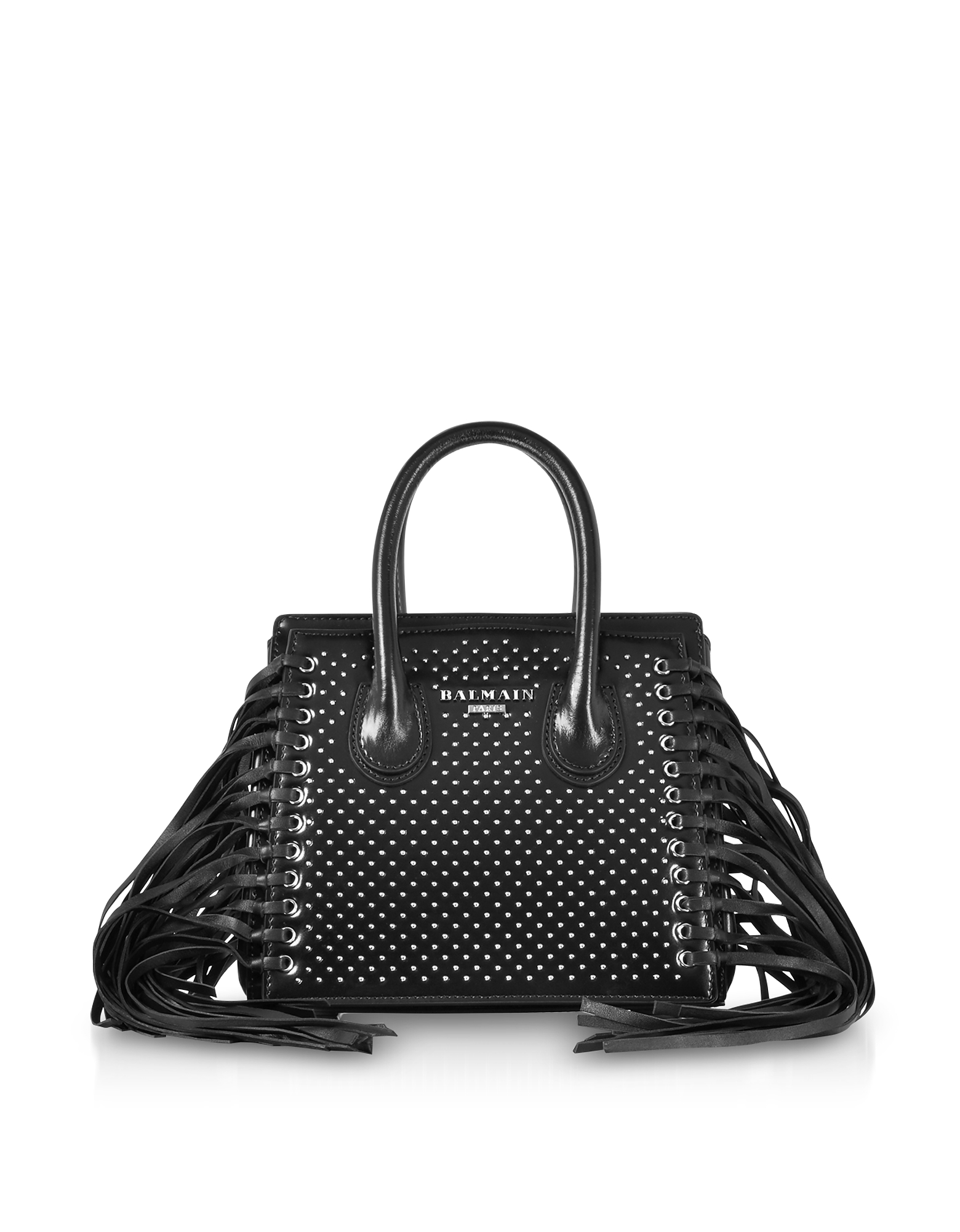 Balmain Handbags, Black Studded Leather Mini 3D Fringes Leather Satchel Bag