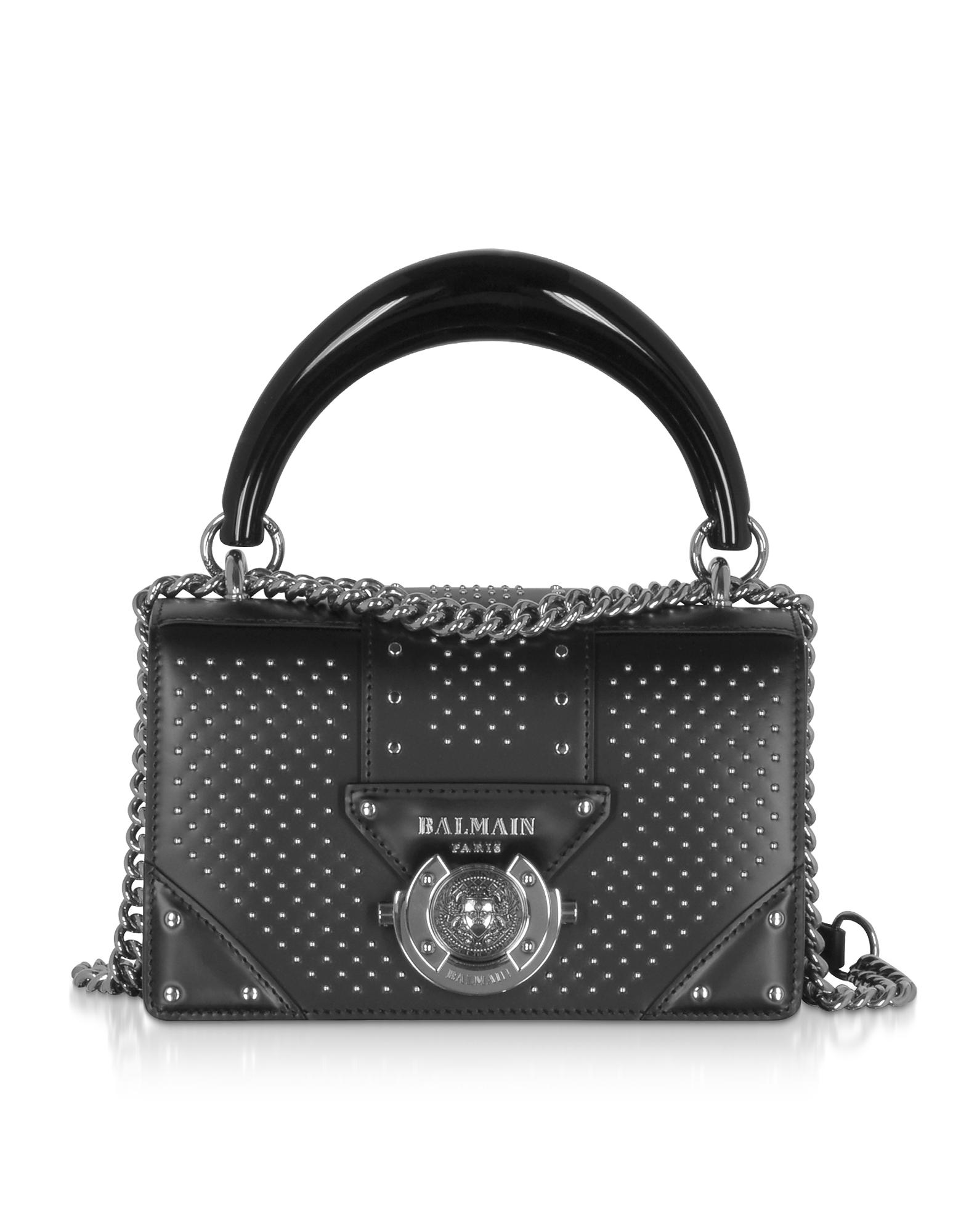 BALMAIN   Balmain Designer Handbags, Black Studded Leather Top Handle Mini Bag   Goxip