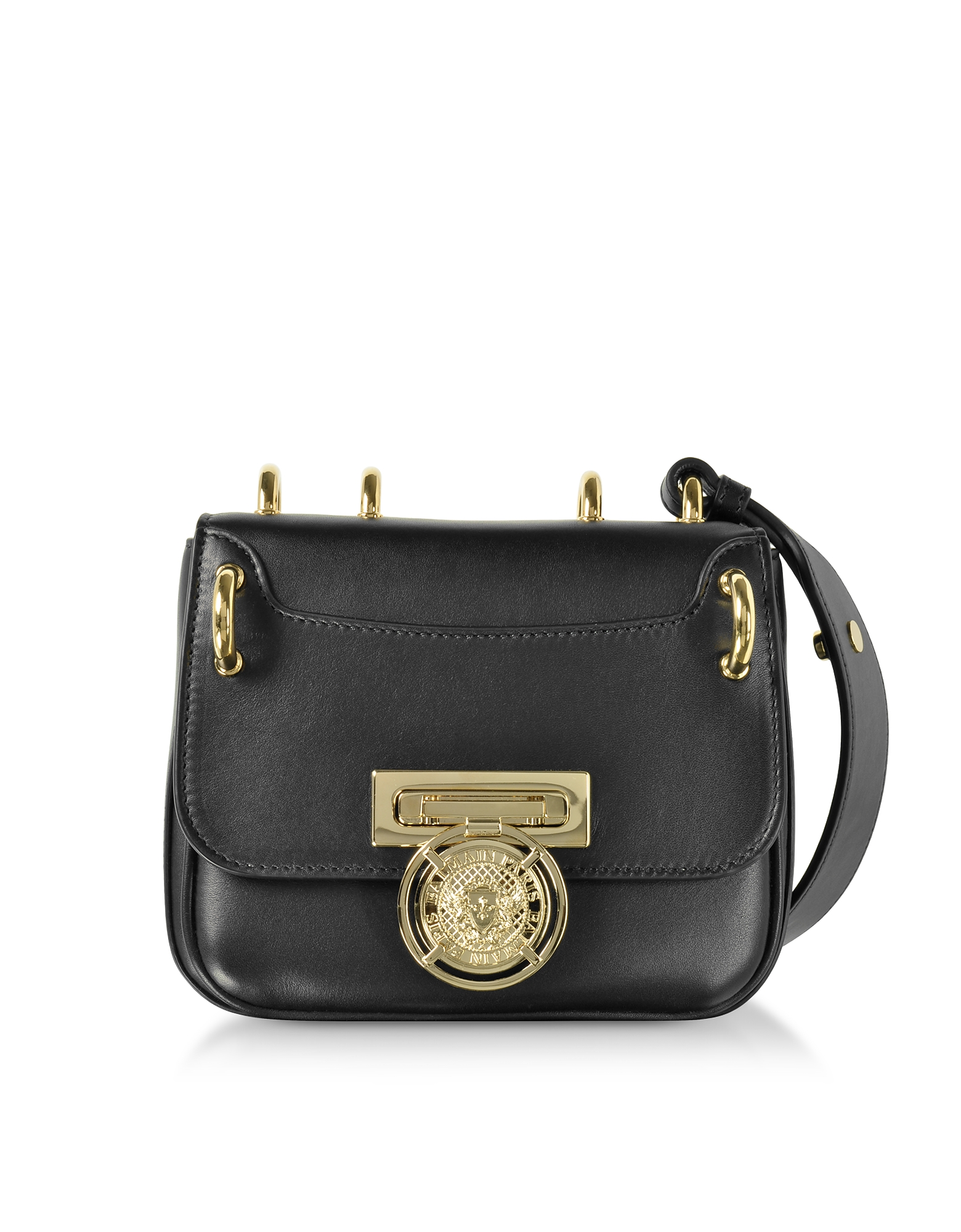 Balmain Handbags, Renaissance 18 Glove Black Leather Small Shoulder Bag