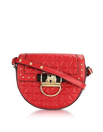 Balmain 44-18 Quilted Rouge Leather Crossbody Bag