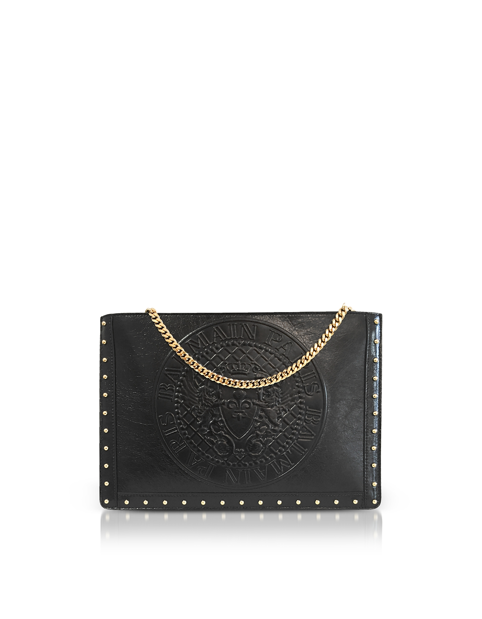 Balmain Handbags, Black Coin Embossed Leather Mini Domaine Pouch w/Chain