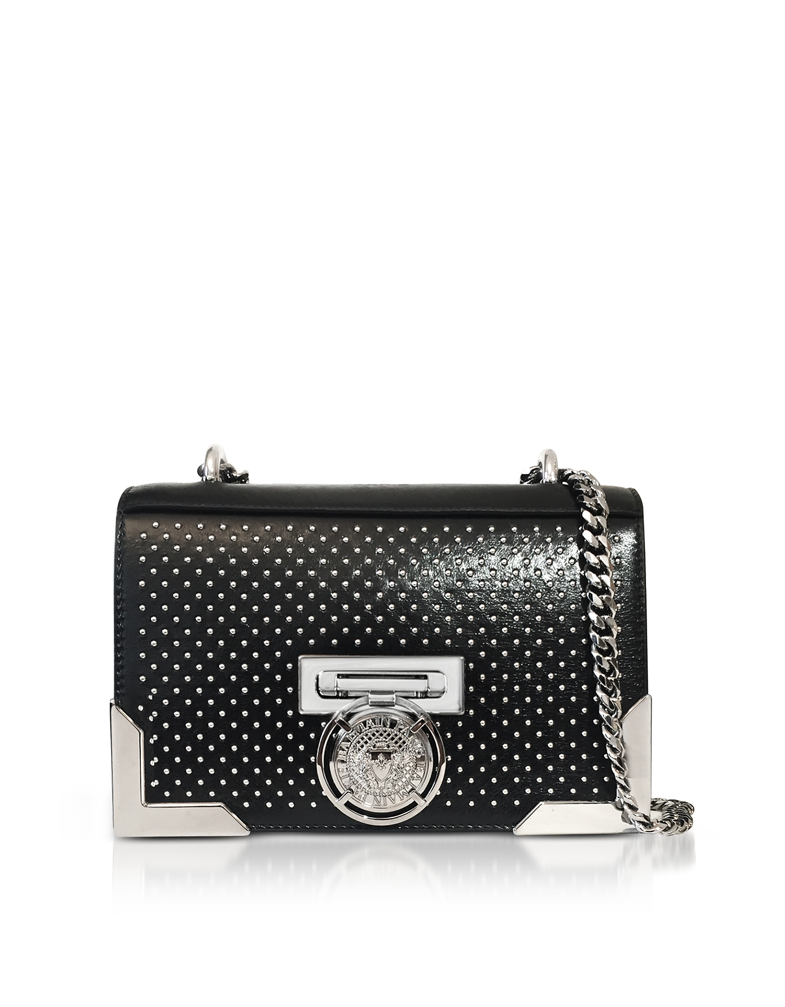 Balmain Handbags, Black Studded Leather BBox20 Clutch