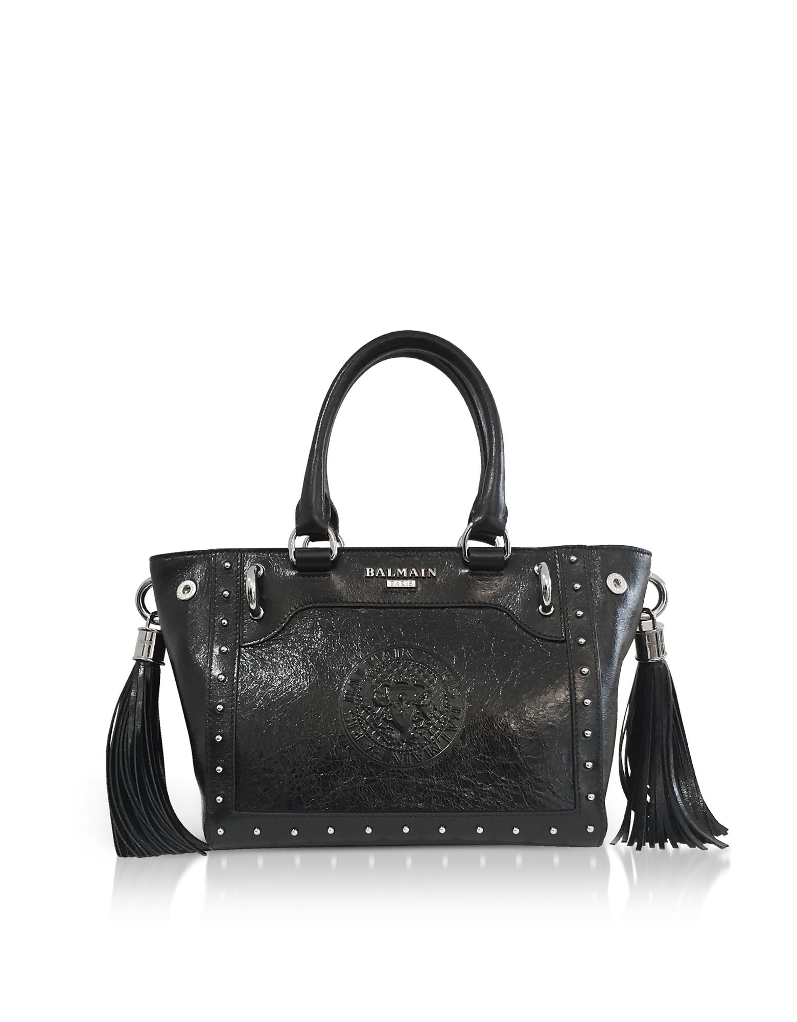 Black Leather Top Handle Mini Tote bag