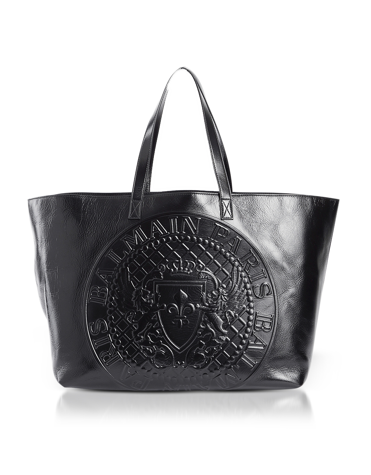 Balmain Handbags, Black Leather Signature Shopping Bag