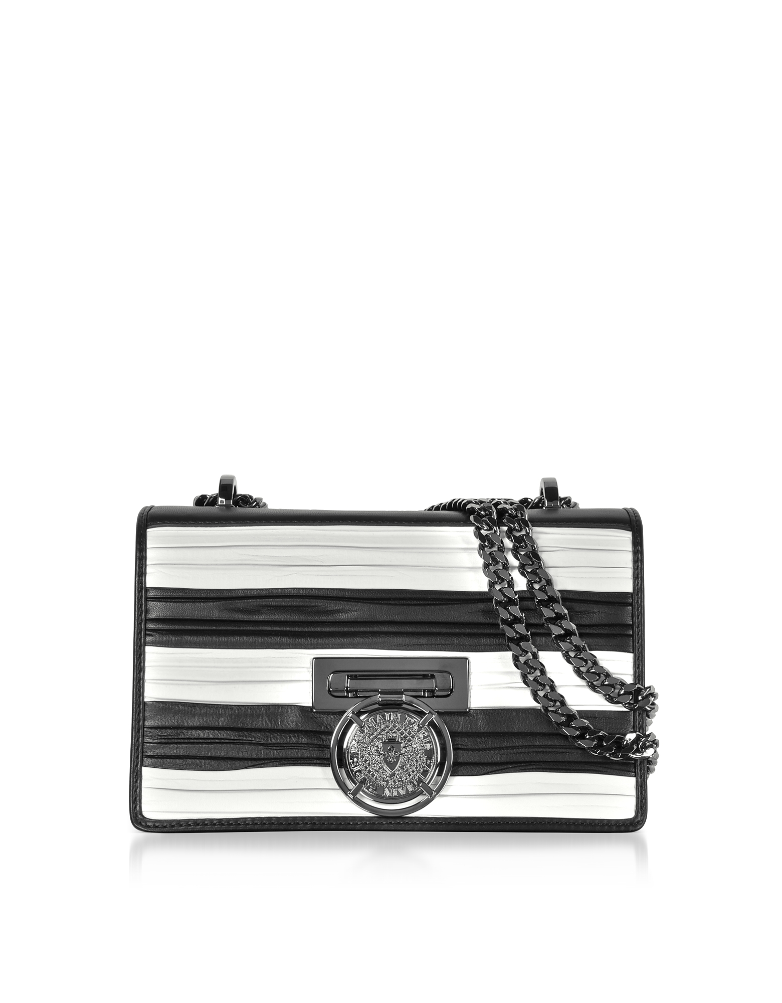 Black/White Striped and Pleated Leather BBox 20 Flap Shoulder Bag