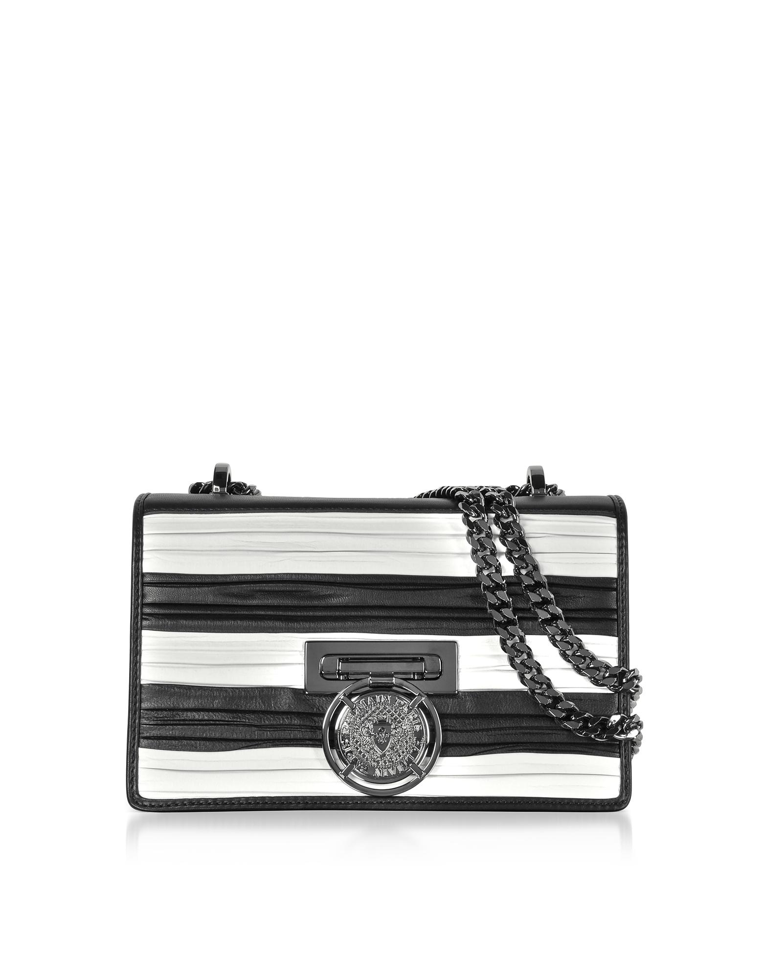 Balmain Handbags, Black/White Striped and Pleated Leather BBox 20 Flap Shoulder Bag