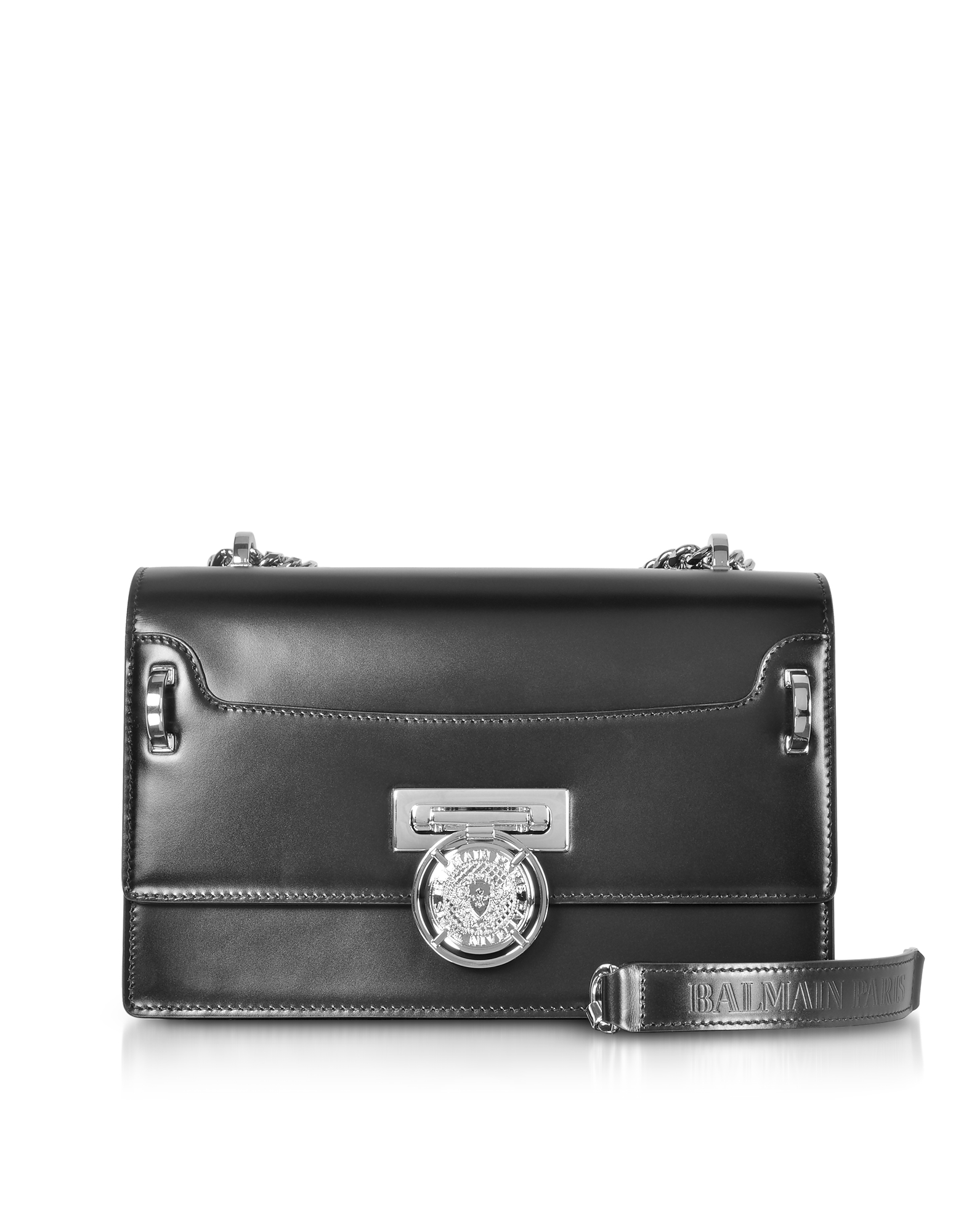 Balmain Handbags, Black Smooth Leather BBox 25 Flap Shoulder Bag