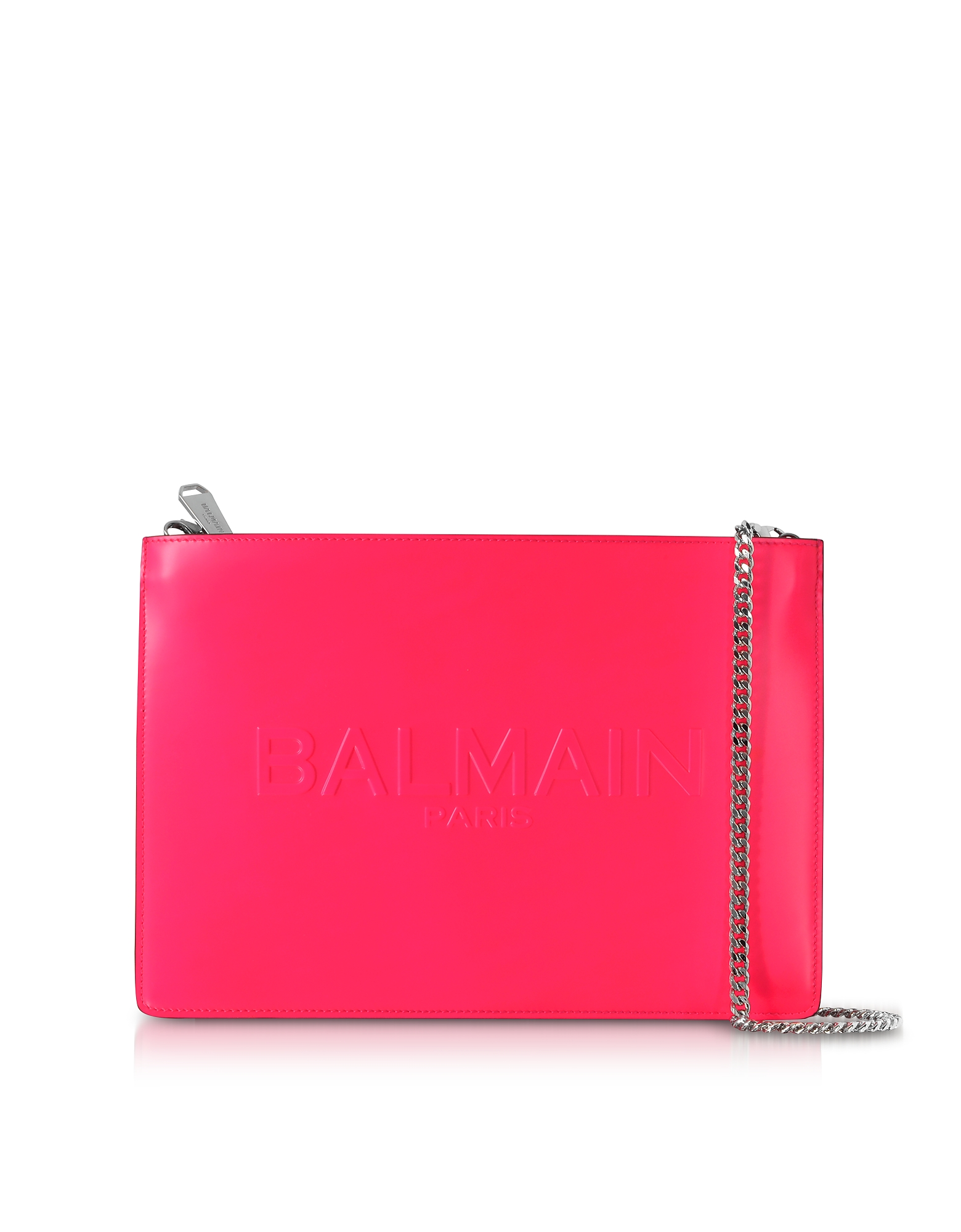 Balmain Handbags, Neon Fuchsia Shiny Leather Domaine Clutch w/Embossed Logo
