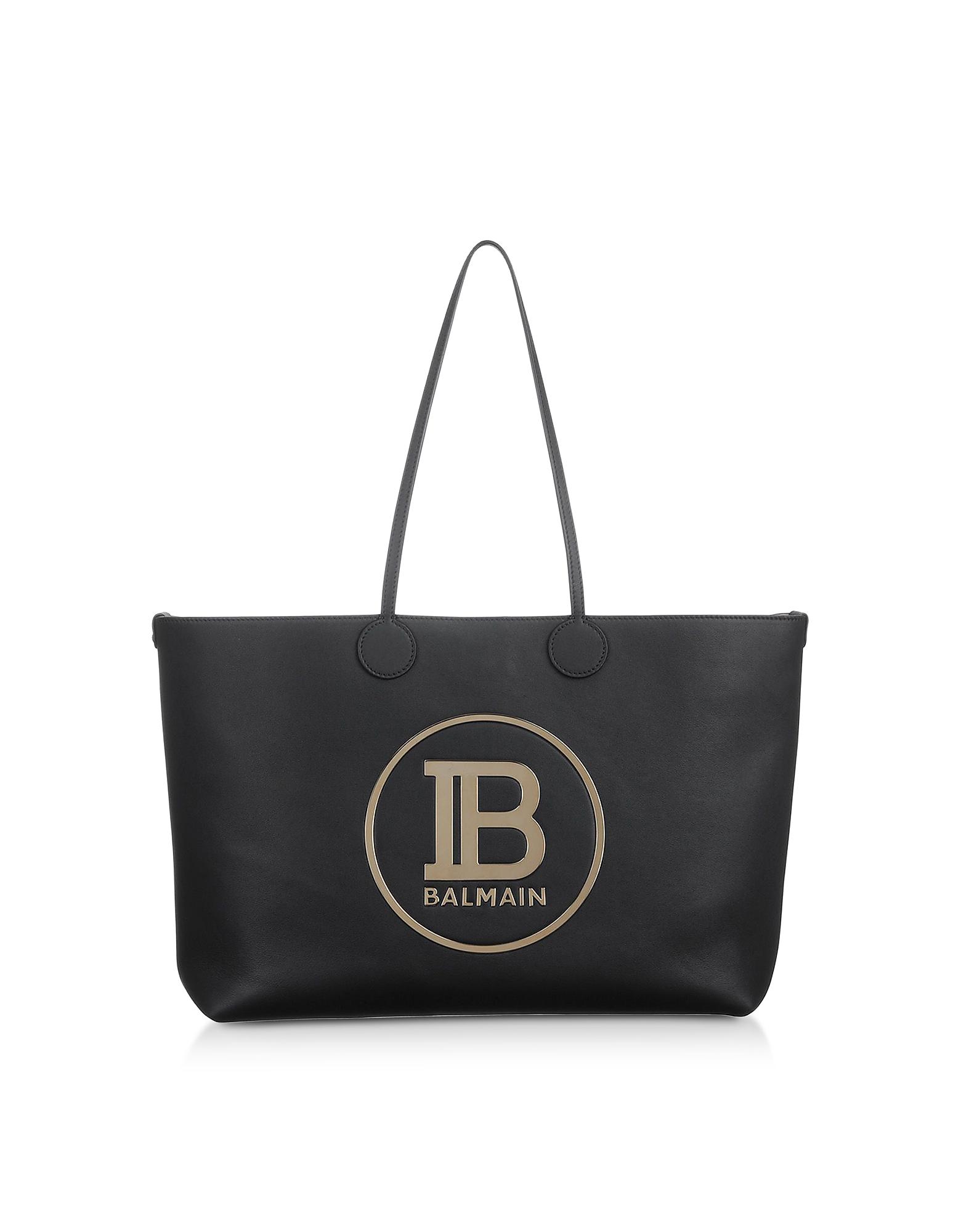 Medium Black & Gold Leather Tote Bag