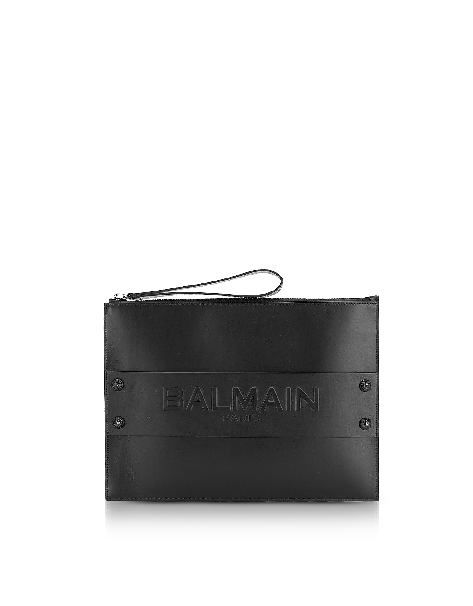 Balmain Men's Bags, Black Shiny Leather Mini Men's Pouch w/Embossed Logo