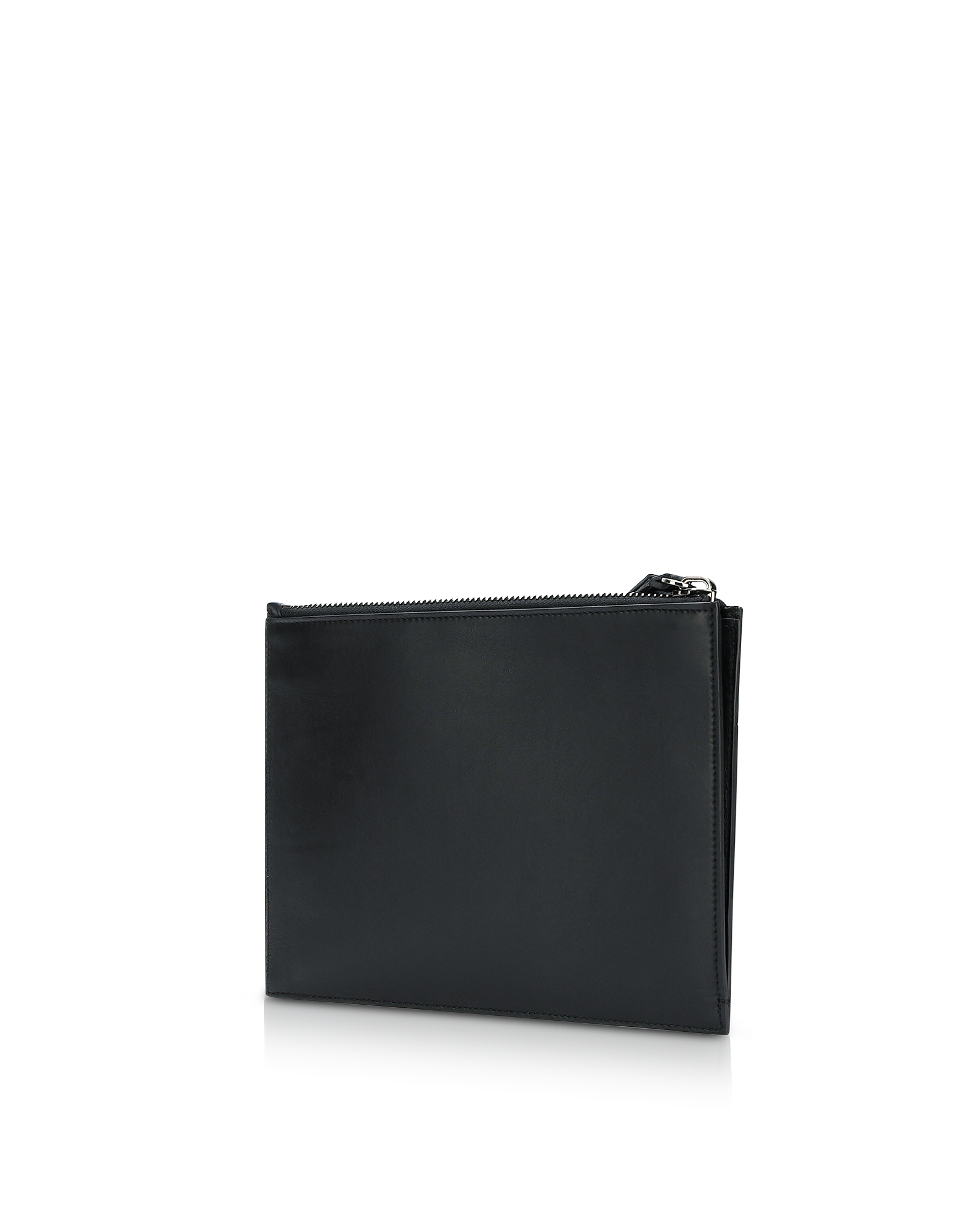 Black Smooth Leather Mini Men's Pouch w/Embossed Signature Blazon от Forzieri.com INT