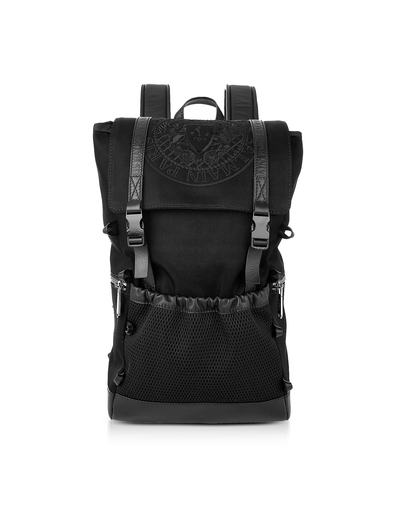 Image of Balmain Designer Backpacks, Black Nylon Men's Climb Backpack