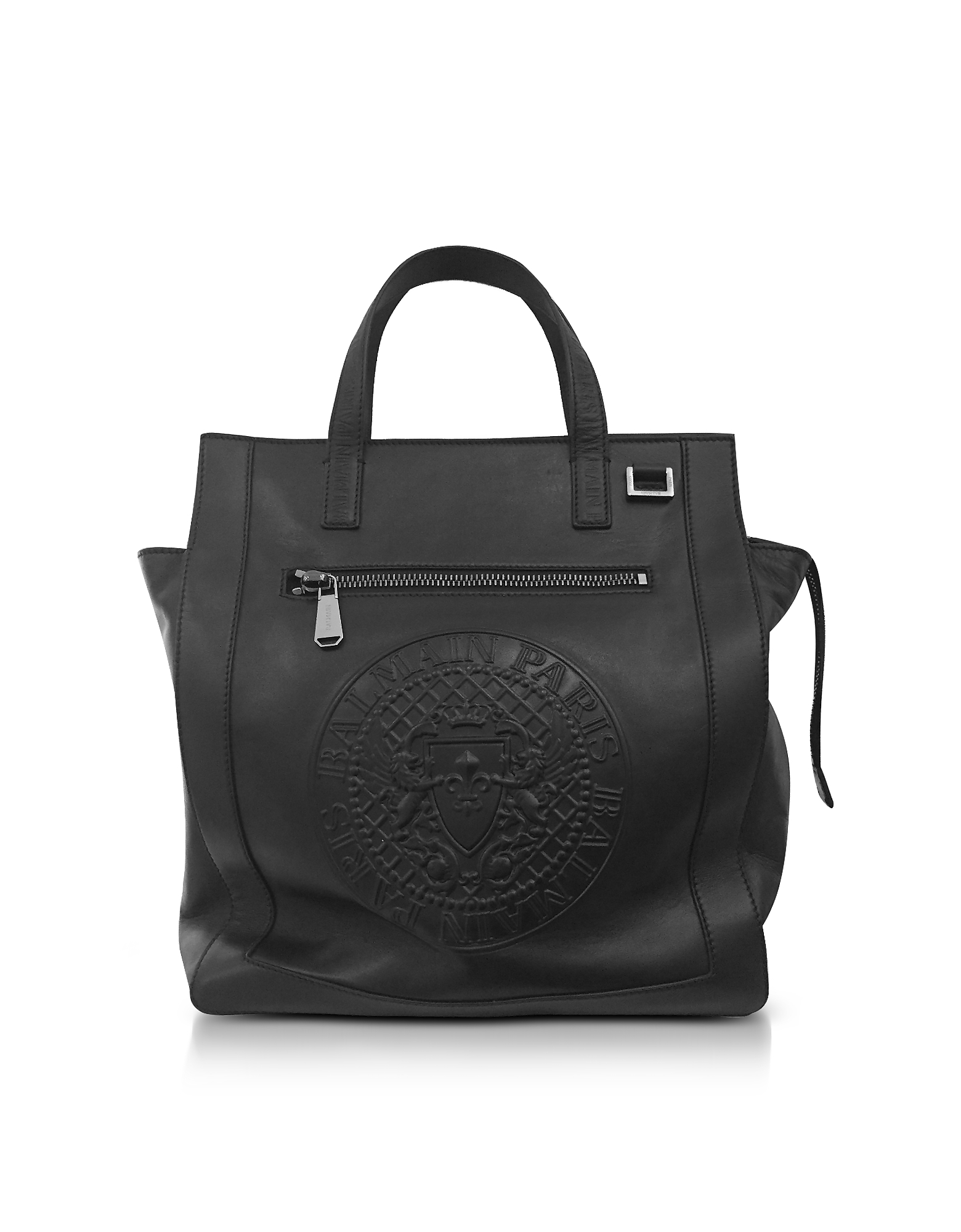 Balmain Men's Bags, Black Smooth Leather Men's Square Tote Bag w/Embossed Blazon