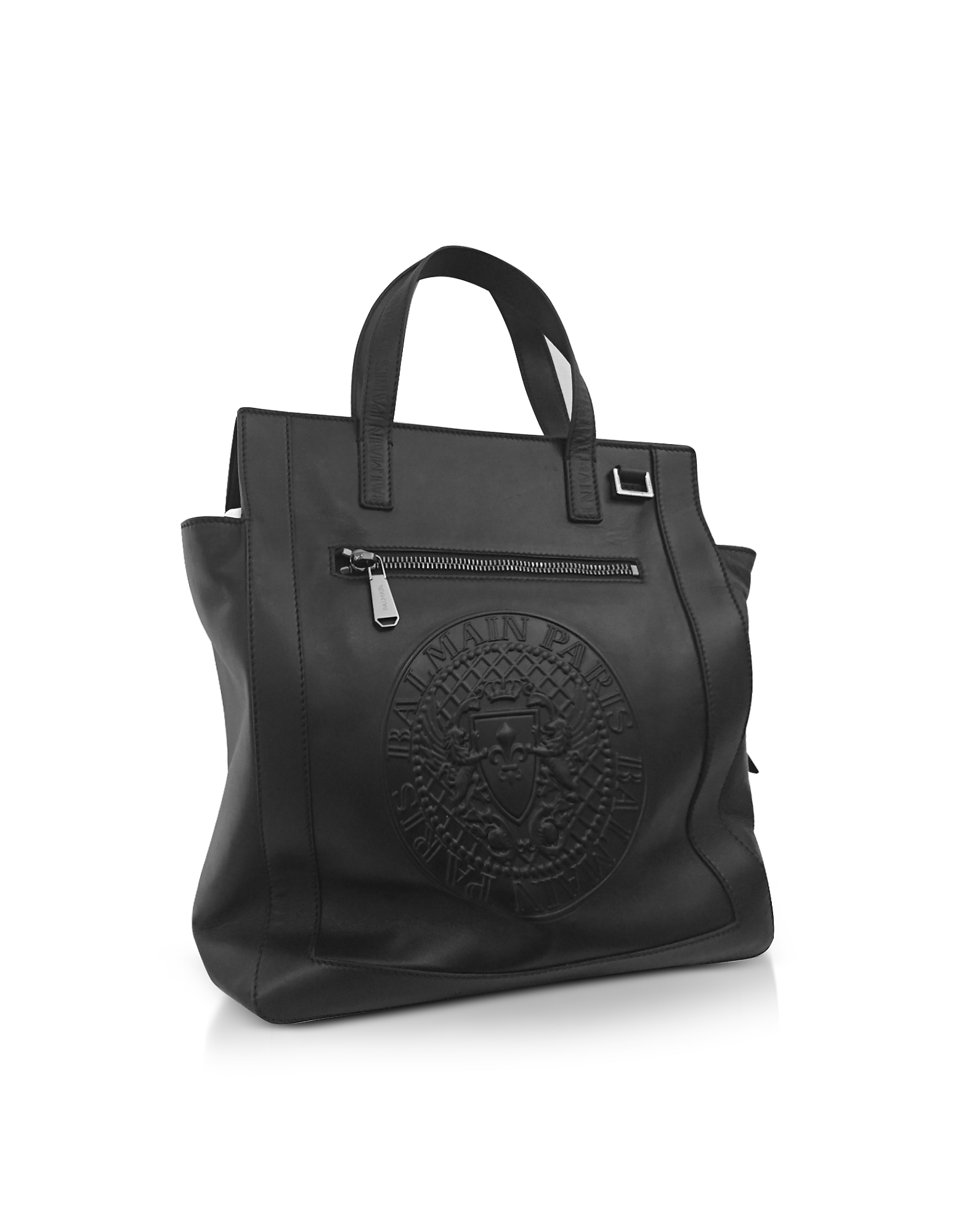 Black Smooth Leather Men's Square Tote Bag w/Embossed Blazon от Forzieri.com INT