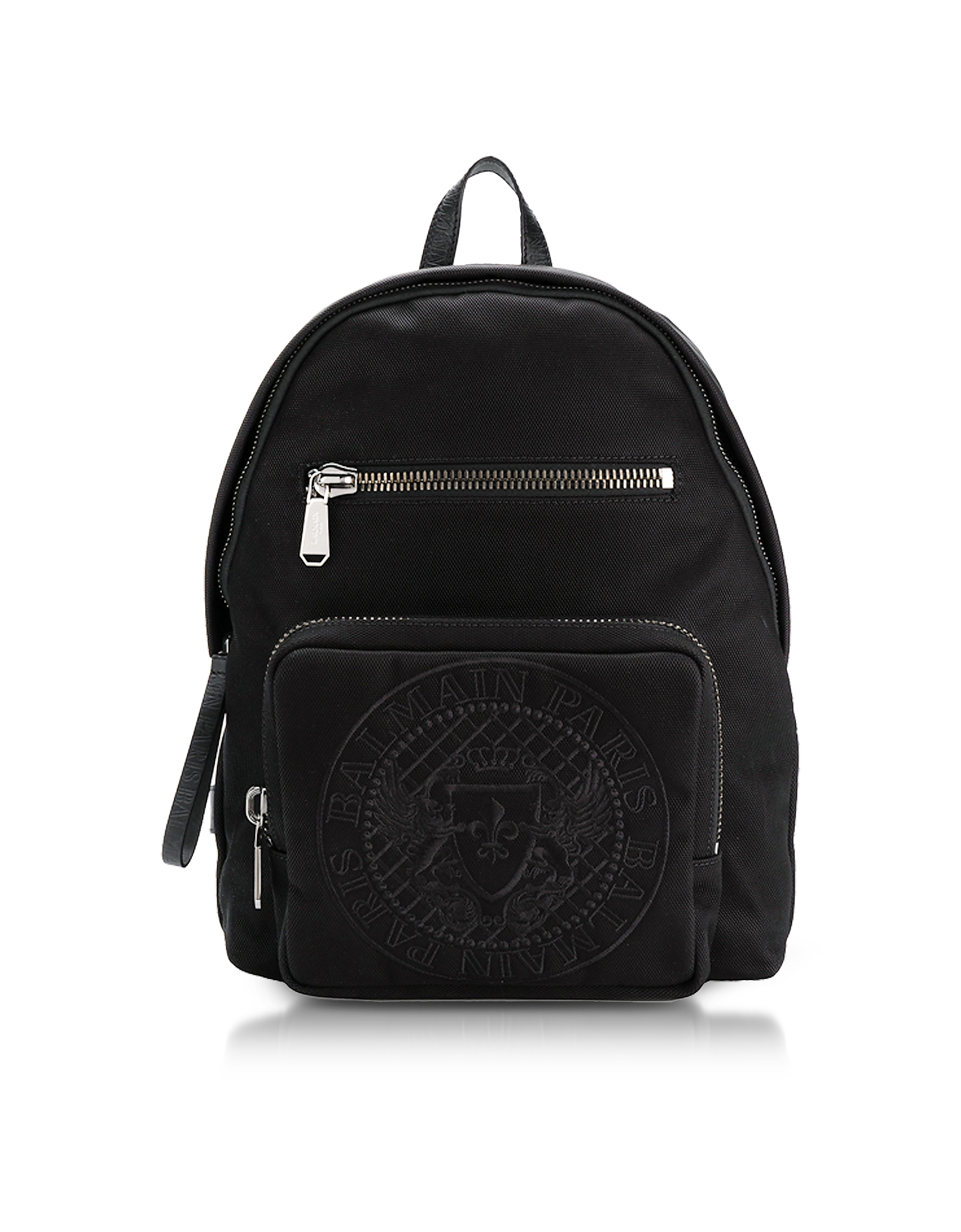 Balmain Backpacks, Black Nylon Men's Club Backpack w/Embossed Blazon