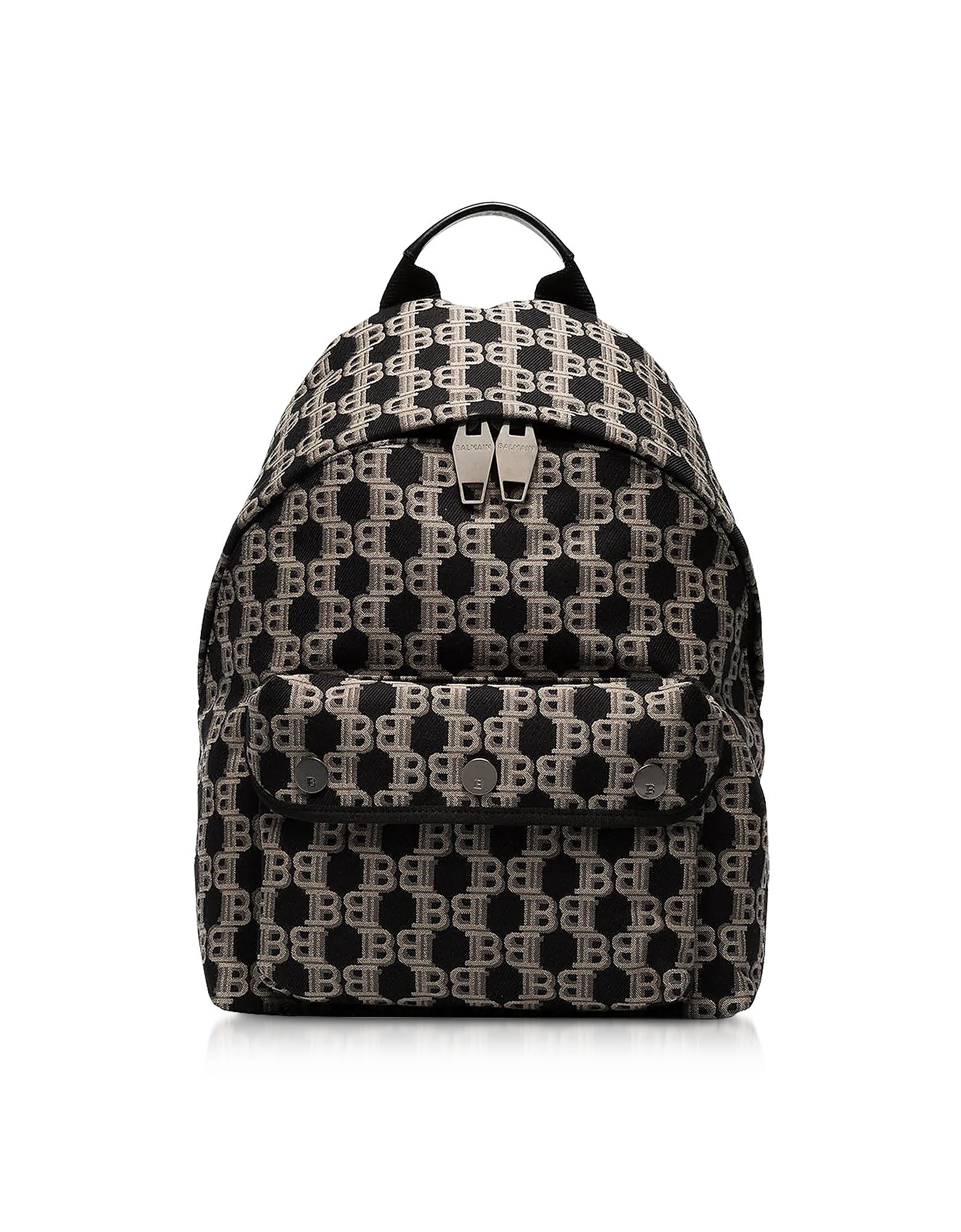 Balmain Designer Men's Bags, Beige and Black B-Backpack
