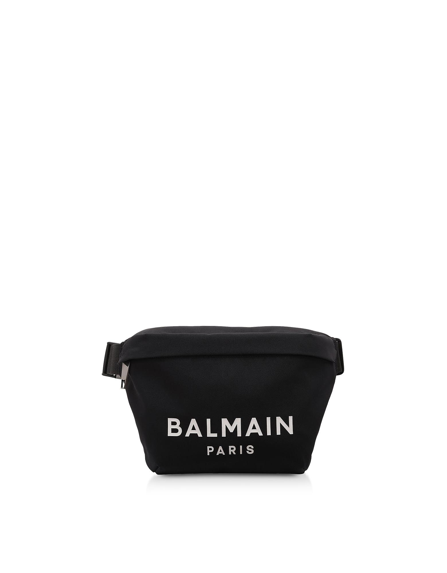Balmain Designer Men's Bags, Black 28-Nylon Signature B-Bumbag